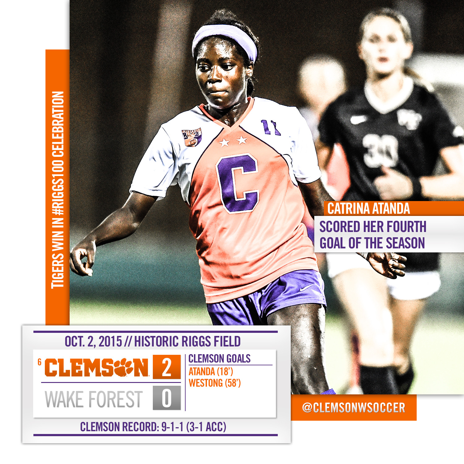 No. 6 Clemson Blanks Wake Forest in #Riggs100 Game Friday