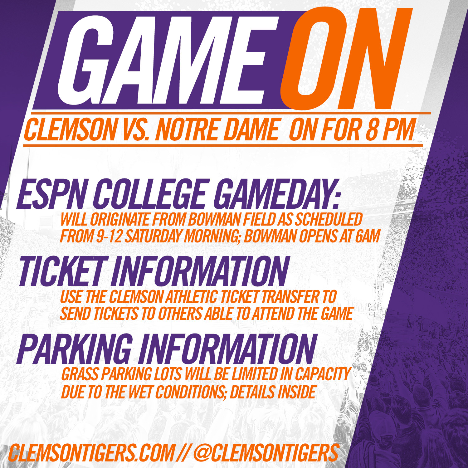 Clemson-Notre Dame on as Scheduled