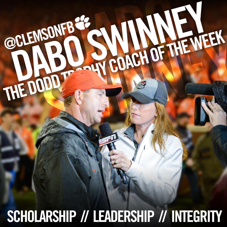 Swinney Named Dodd Coach of the Week