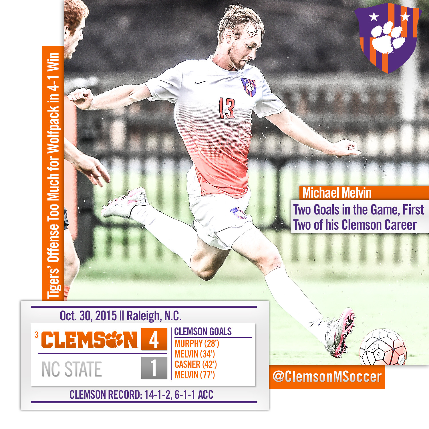 No. 3 Clemson?s Offense Too Much for NC State in 4-1 Road Victory