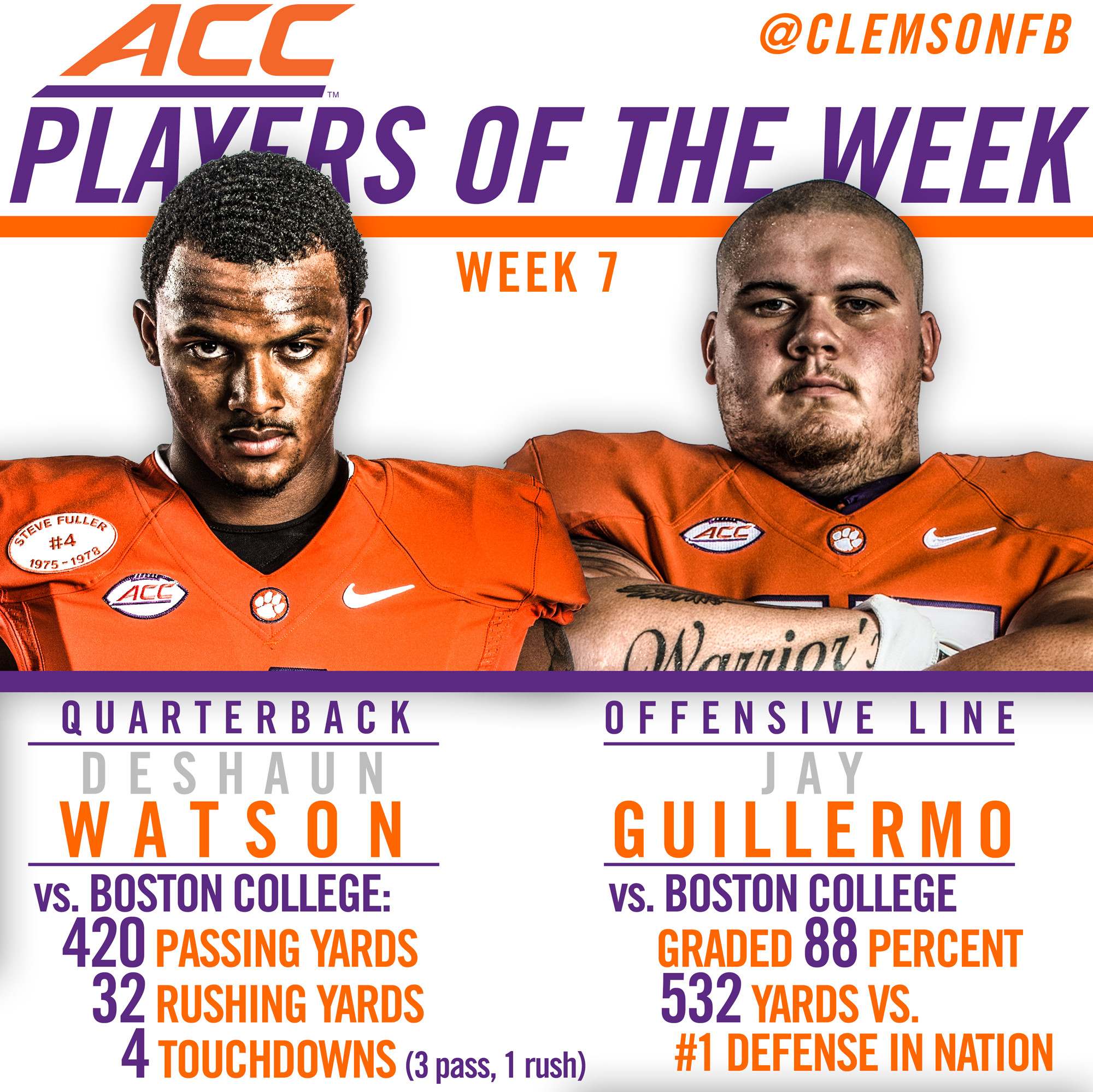 Watson and Guillermo Named ACC Players of the Week