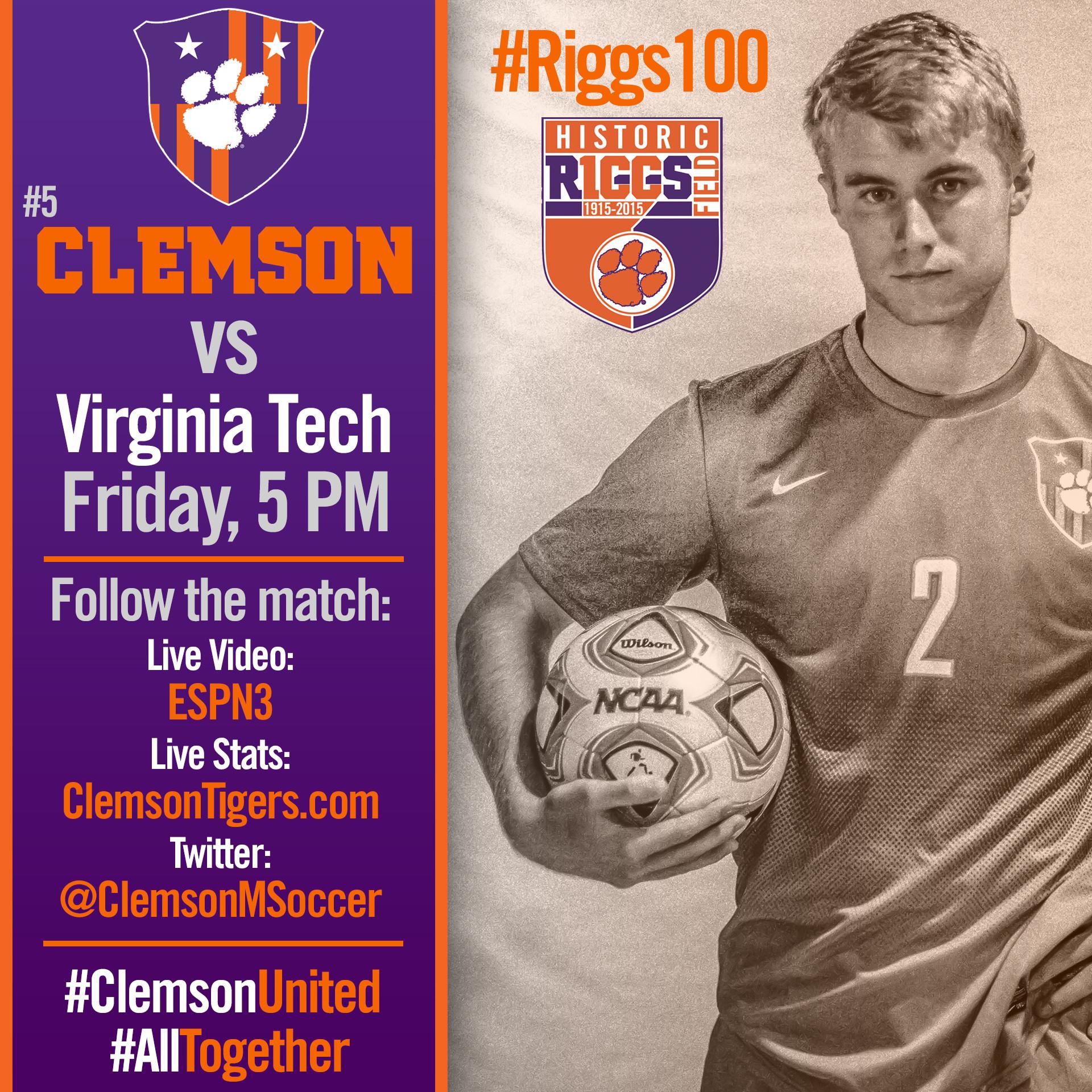 No. 5 Clemson Faces Virginia Tech in #Riggs100 Celebration Friday