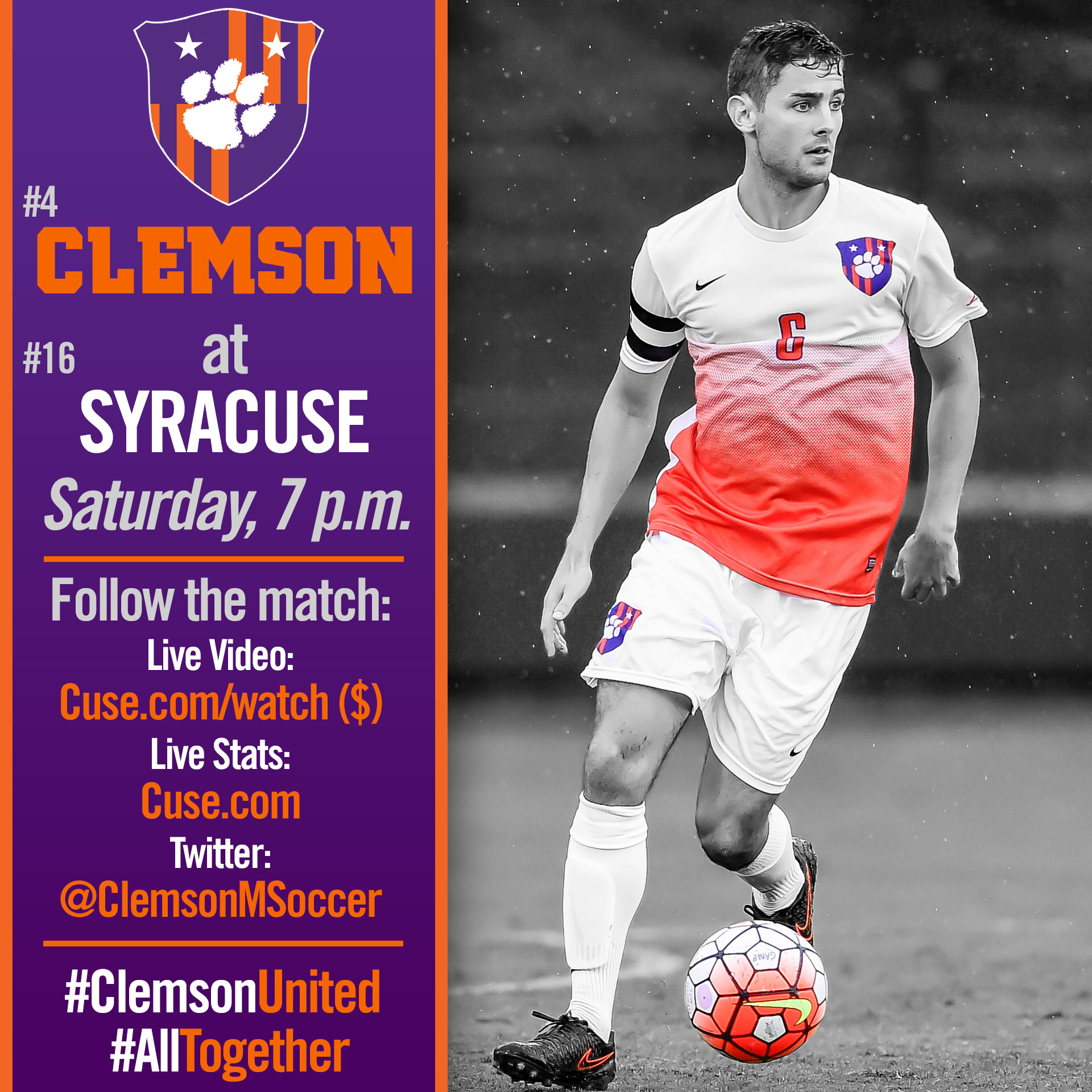 No. 4 Clemson Faces No. 16 Syracuse On the Road Saturday