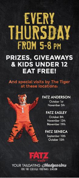 Calling all Clemson Fans to FATZ Cafe!