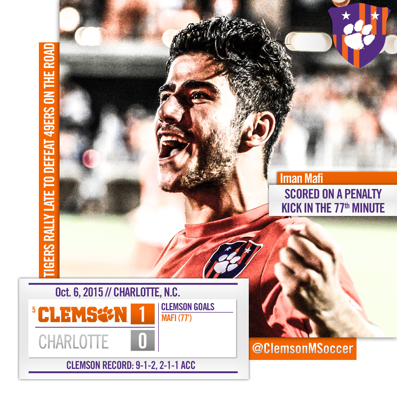 No. 5 Clemson Shuts Out Charlotte 1-0 On the Road Tuesday
