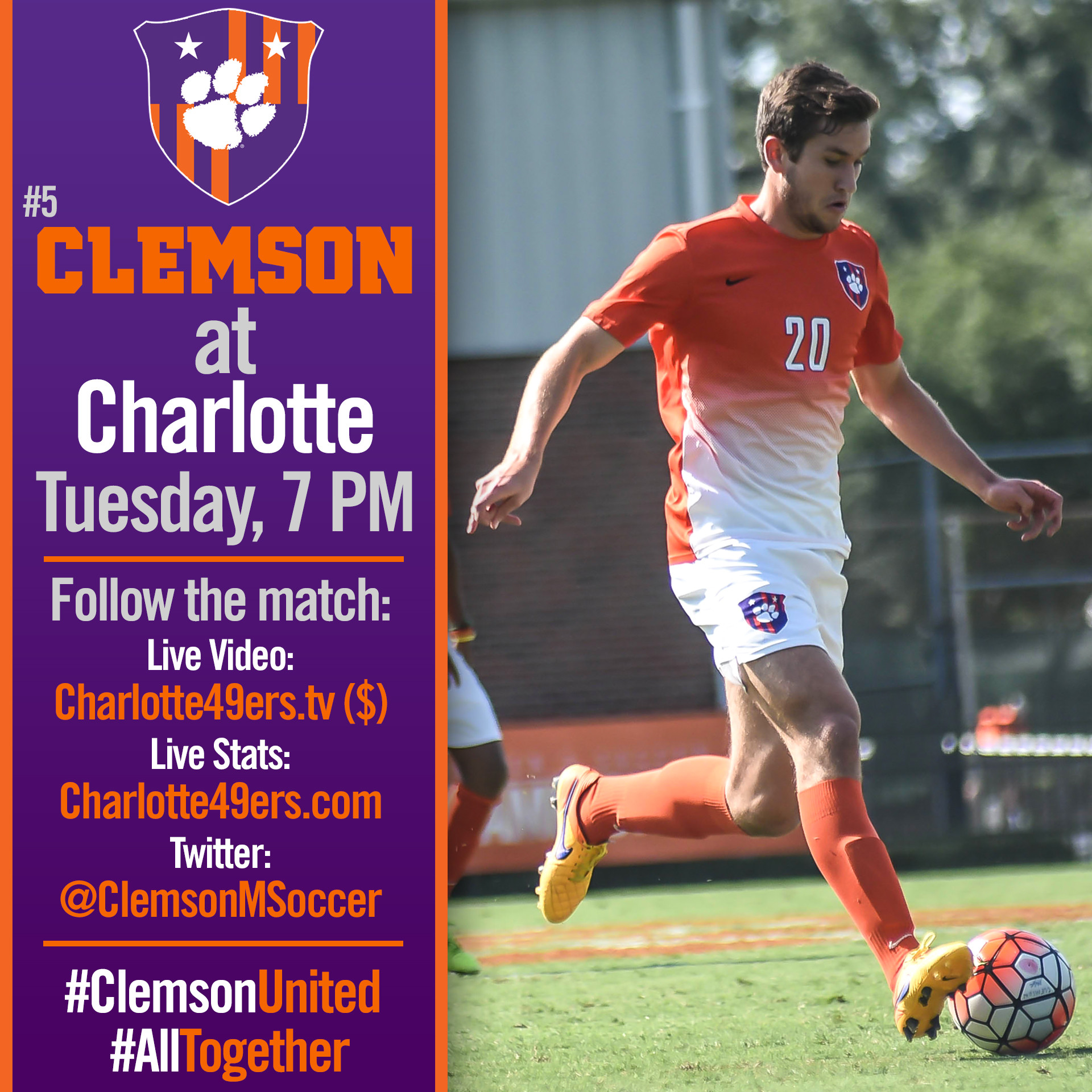 No. 5 Clemson Faces Charlotte on the Road Tuesday