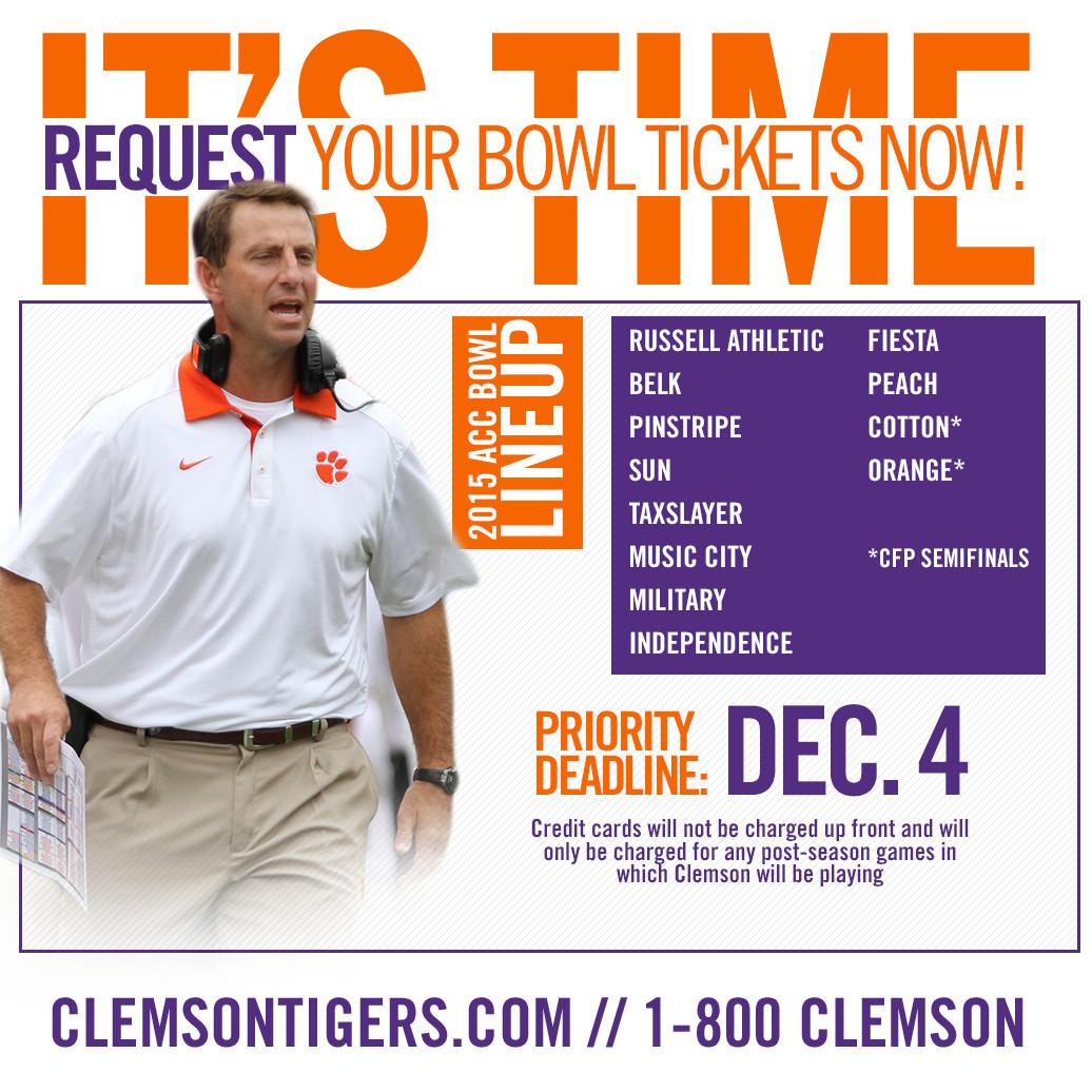 REMINDER: Bowl/College Football Playoff Ticket Request Deadline is December 4