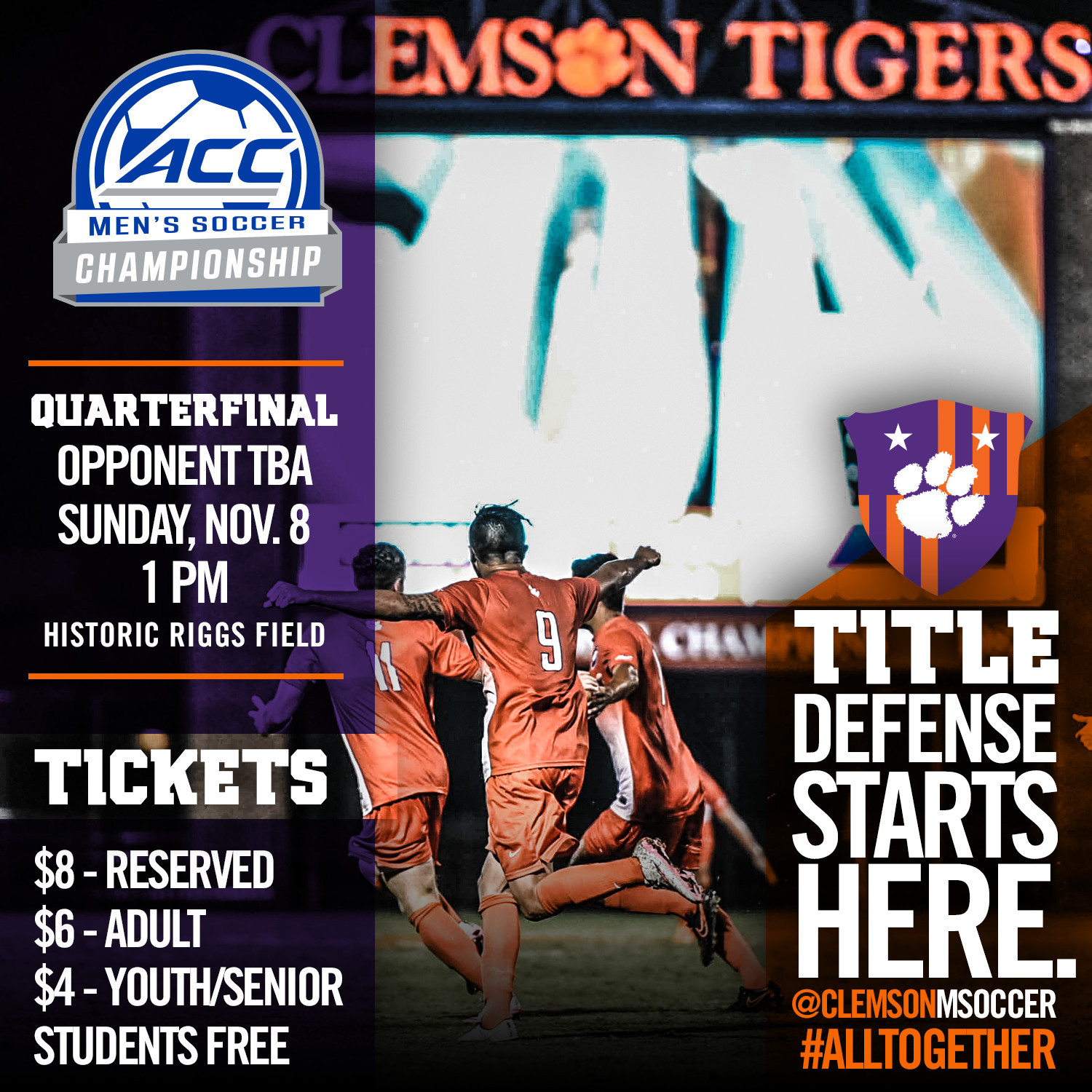 Tickets Available for ACC Tournament Quarterfinal Match at Riggs on Nov. 8