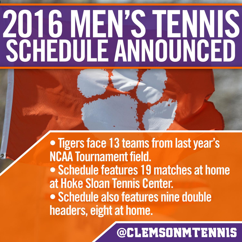 Clemson Announces 2015-16 Men?s Tennis Schedule