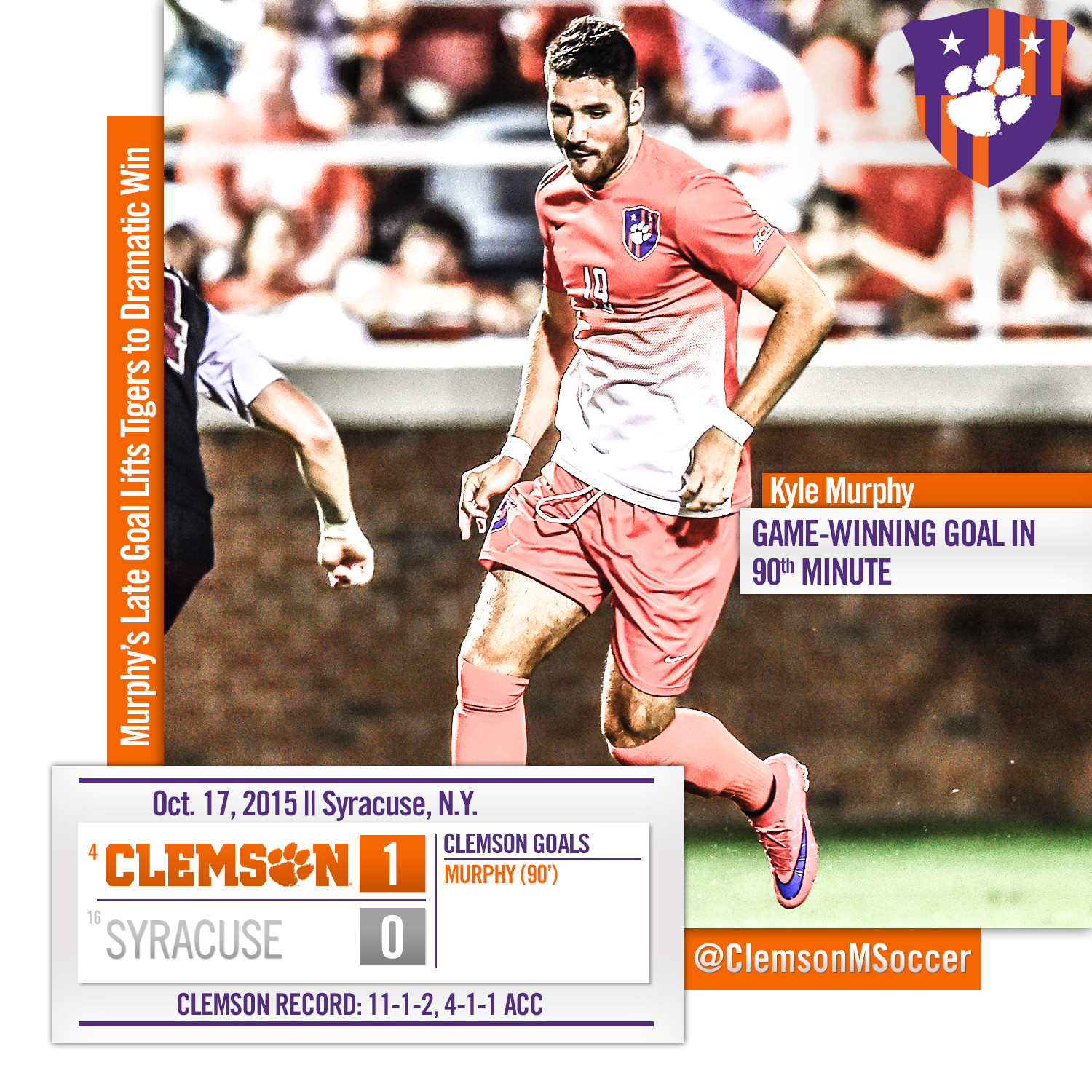 Murphy?s Late Goal Lifts No. 4 Tigers to Dramatic Win at No. 16 Syracuse