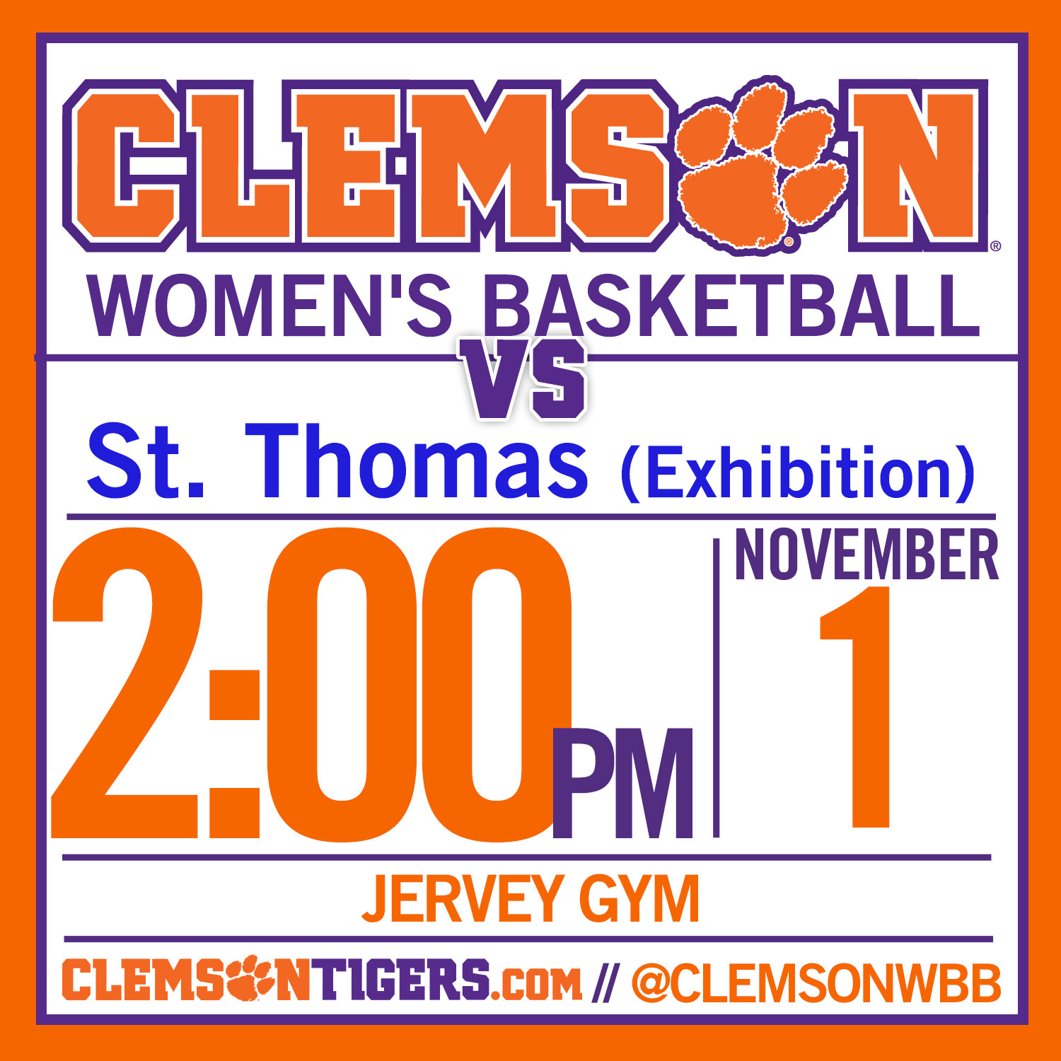 Tigers Host St. Thomas in Exhibition Game Sunday in Jervey
