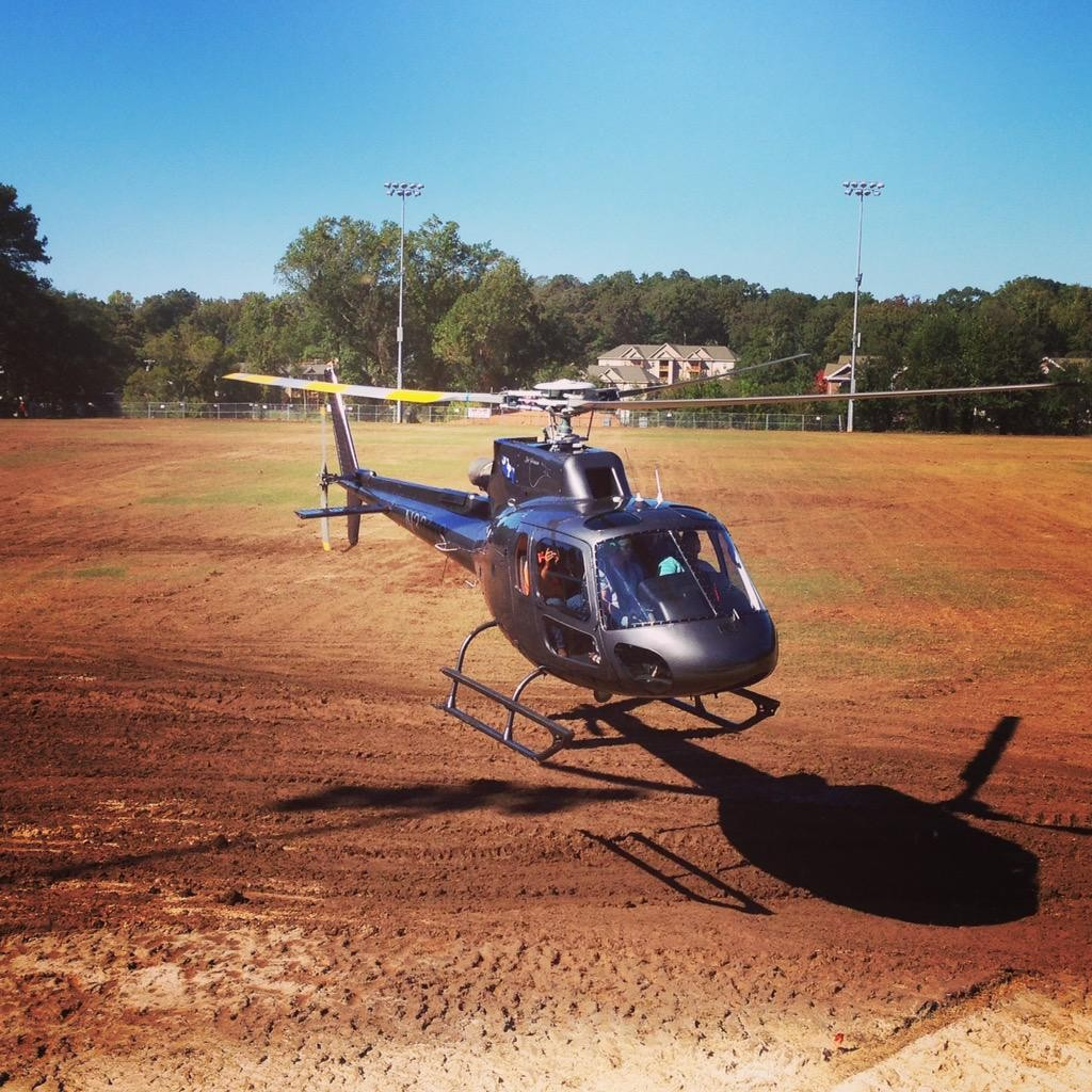 Helicopter Helps Drying of Grass Lots