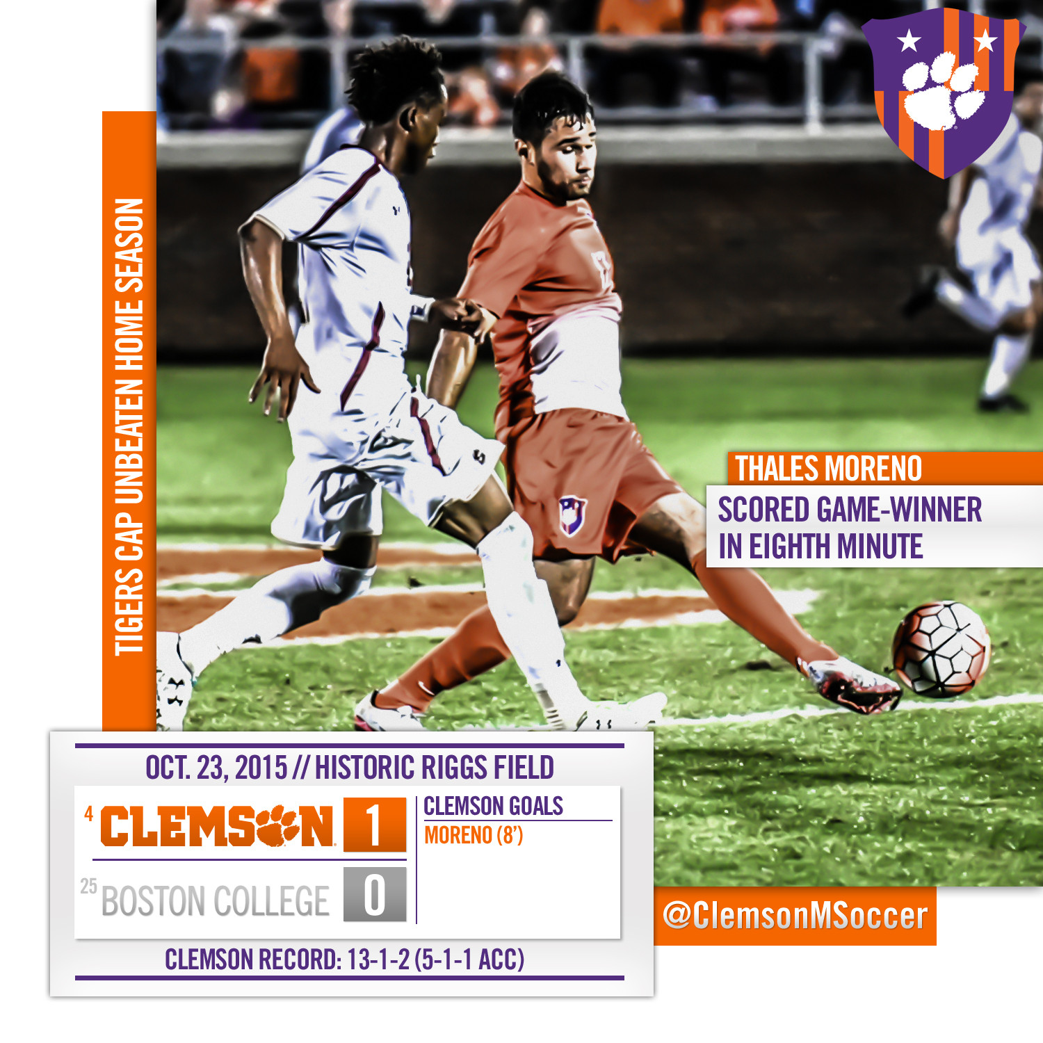 No. 4 Clemson Downs BC, Finishes Home Regular Season Unbeaten