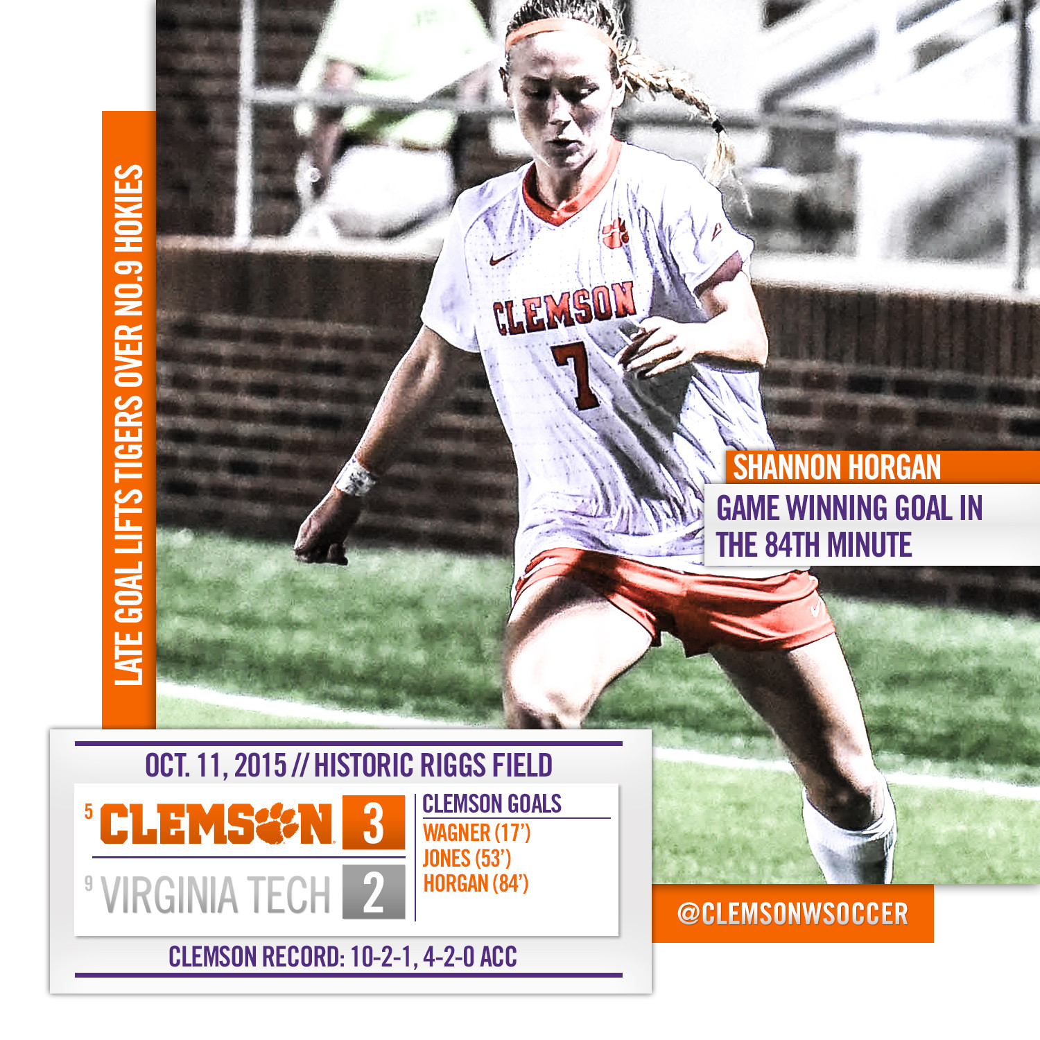 Late Goal Lifts No. 5 Tigers Over No. 9 Hokies Sunday