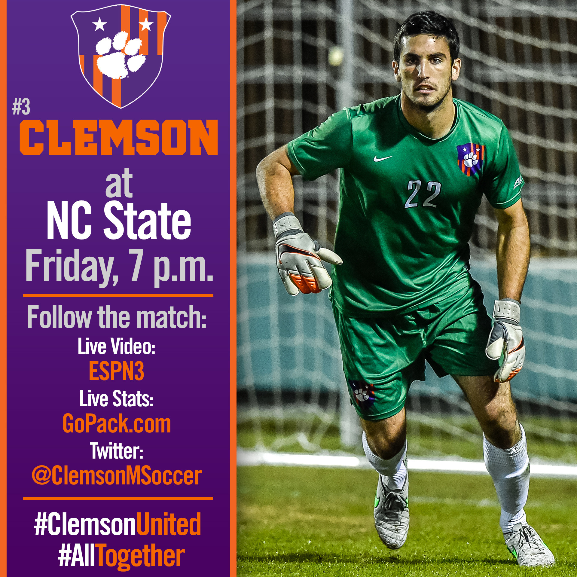No. 3 Clemson Travels to Raleigh for Final Regular Season Game Friday