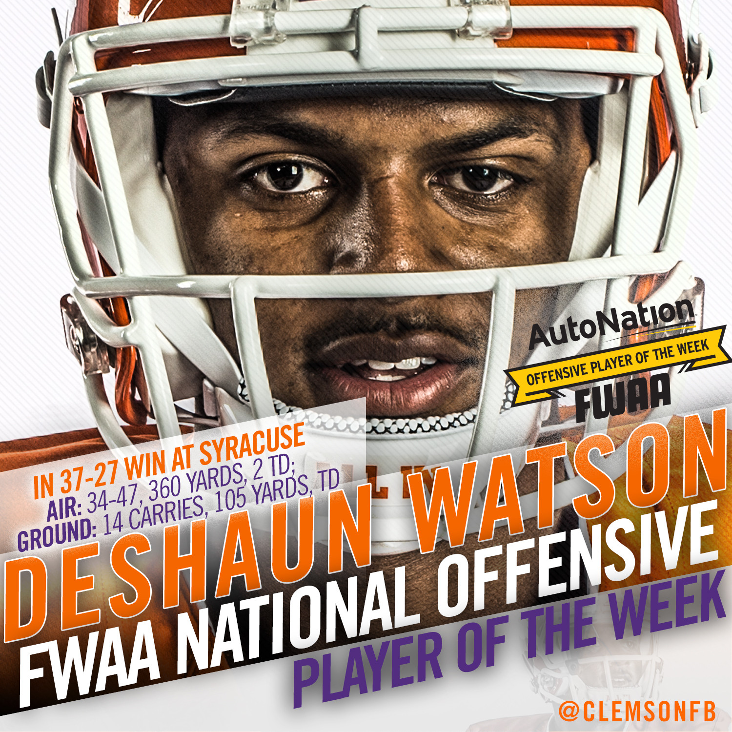 Watson Named AutoNation Offensive Player of the Week by Football Writers Association