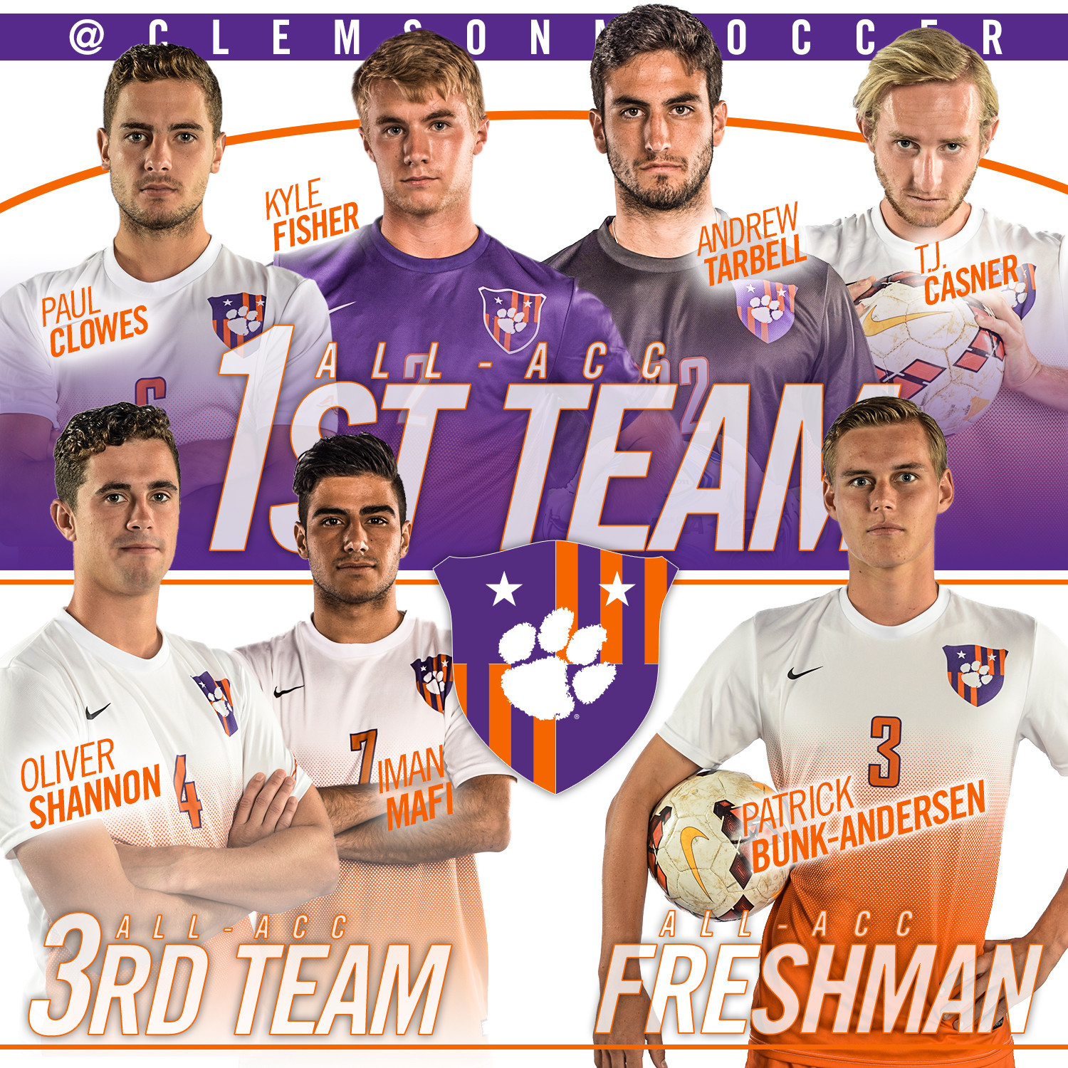 Clowes & Fisher Named ACC Players of the Year, Seven Tigers Earn All-ACC Honors