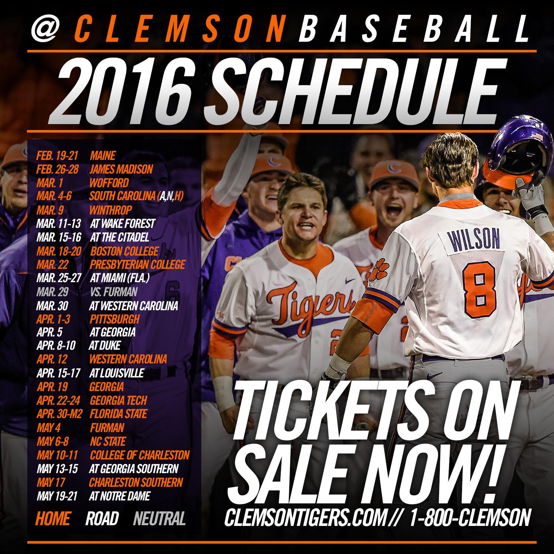 2016 Baseball Slate Announced