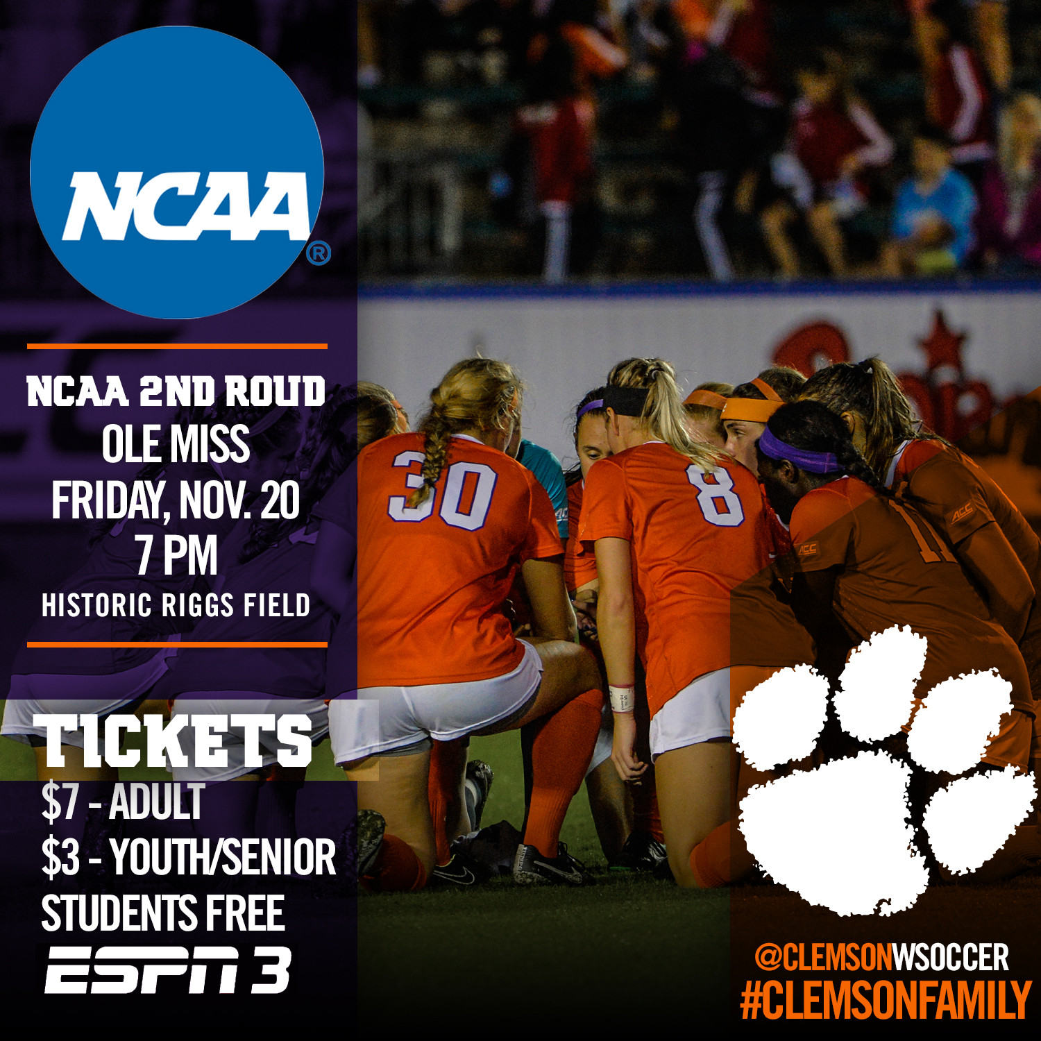 Clemson to Host Ole Miss in NCAA Second Round