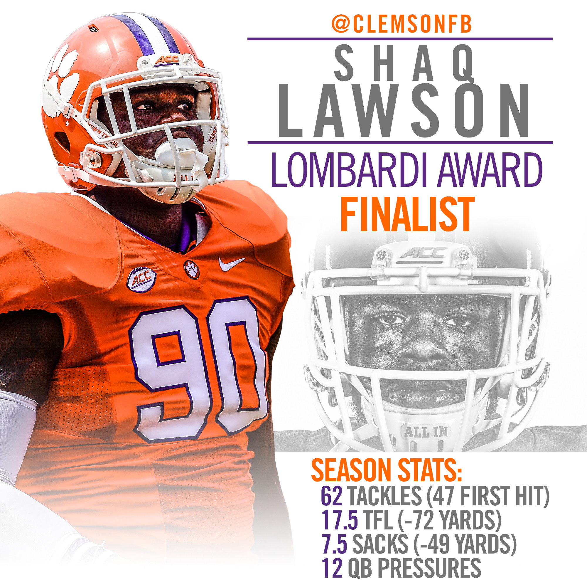 Lawson Named Lombardi Award Finalist
