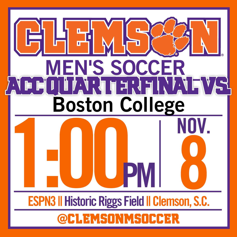 No. 2 Clemson Hosts Boston College in ACC Quarterfinal Sunday