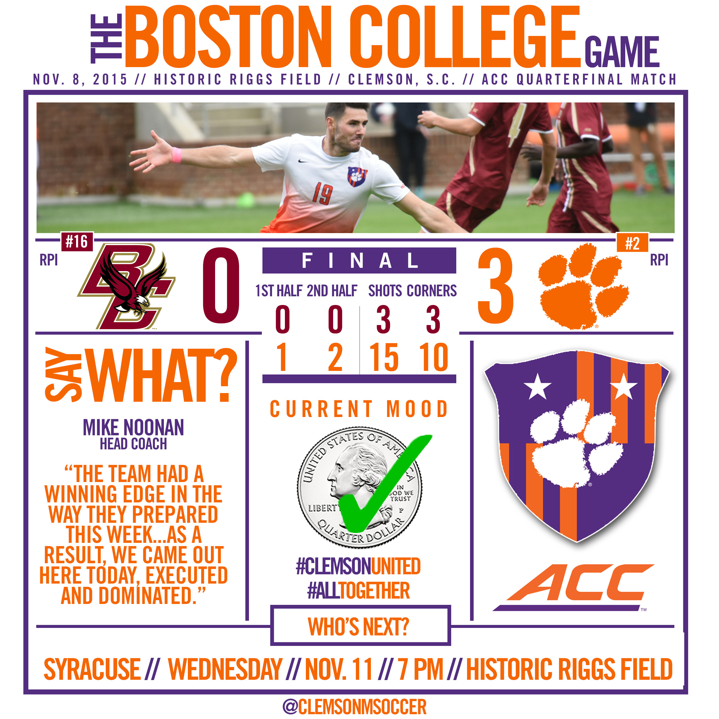 No. 2 Tigers Advance to ACC Semifinals with 3-0 Win Over BC Sunday