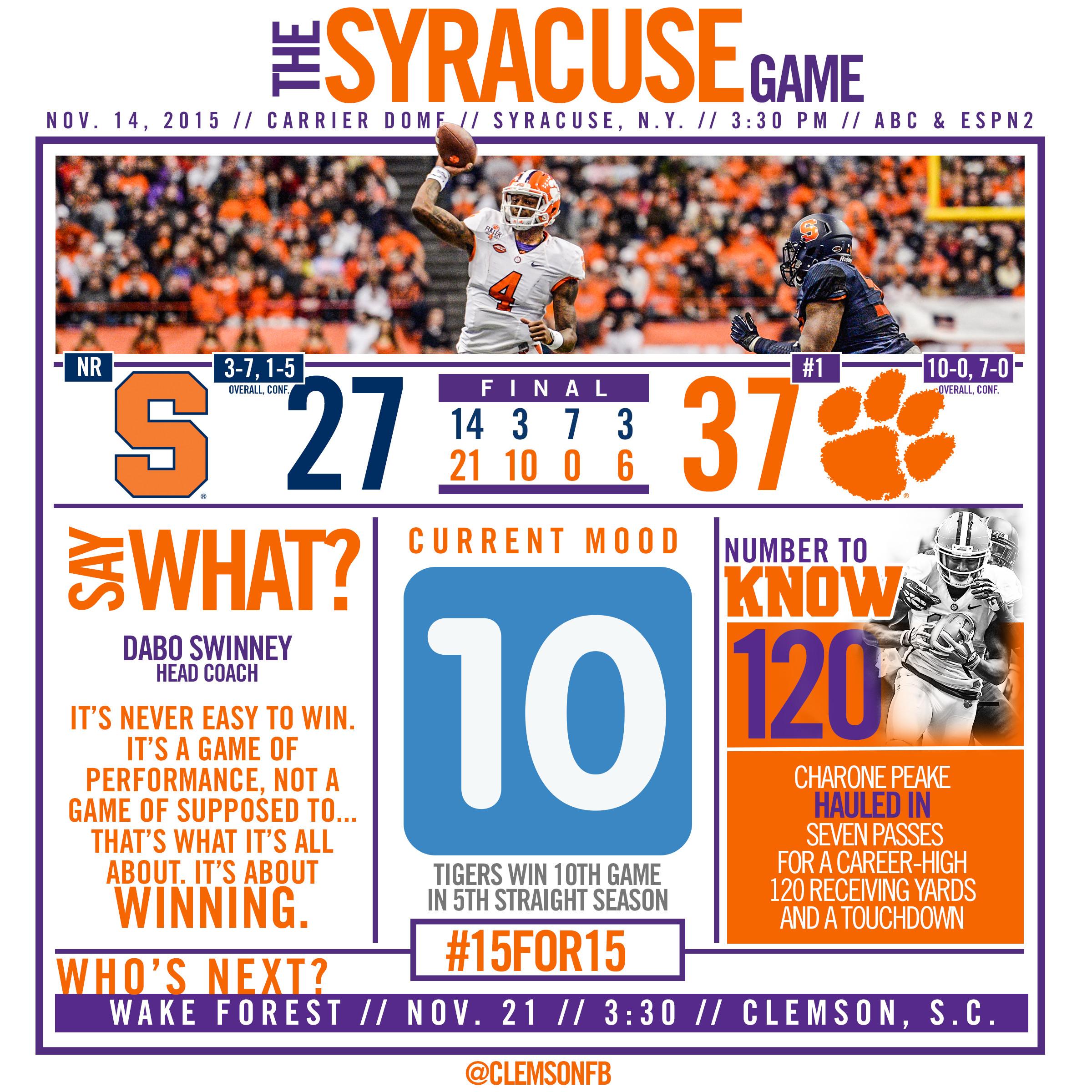No. 1 Tigers Remain Perfect, Beat Syracuse 37-27