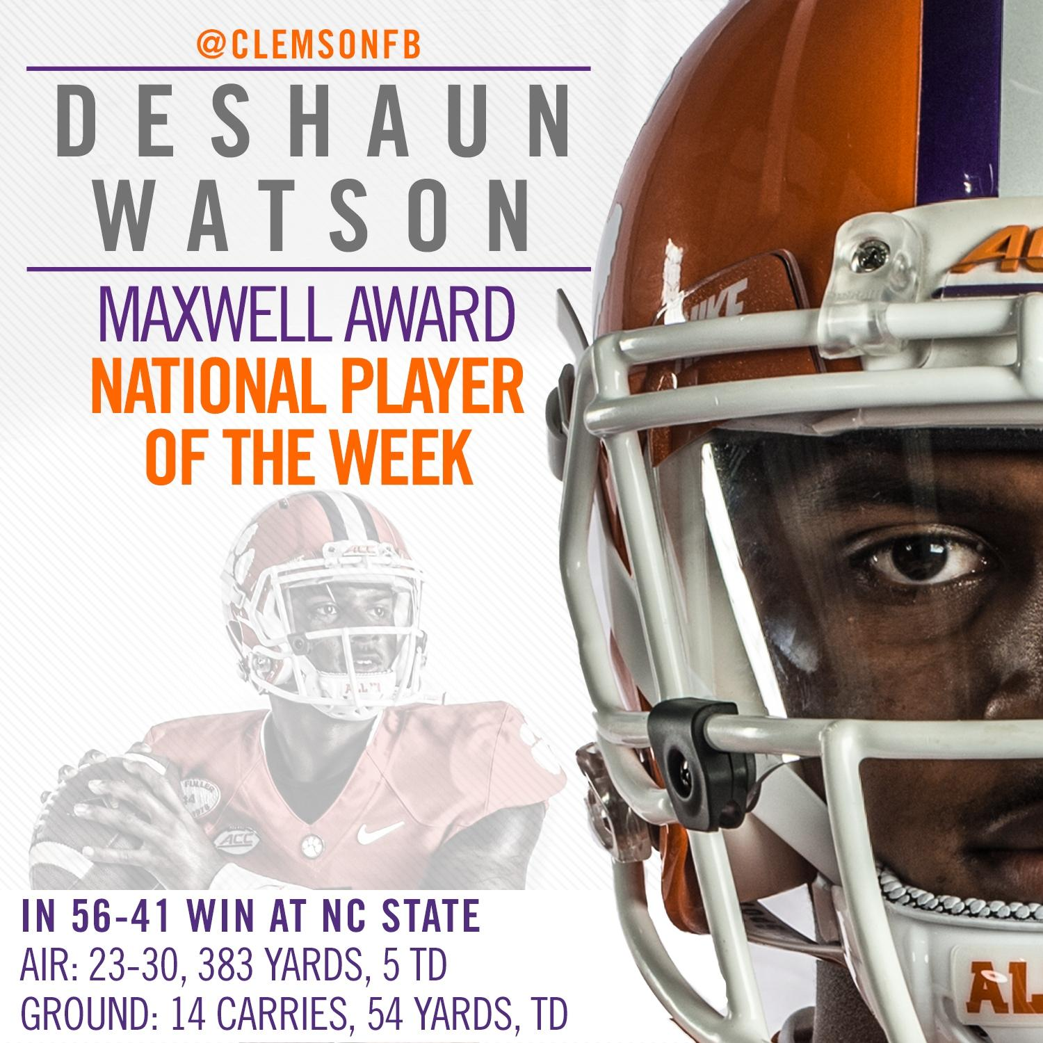Watson Named National Player of the Week by Maxwell Award