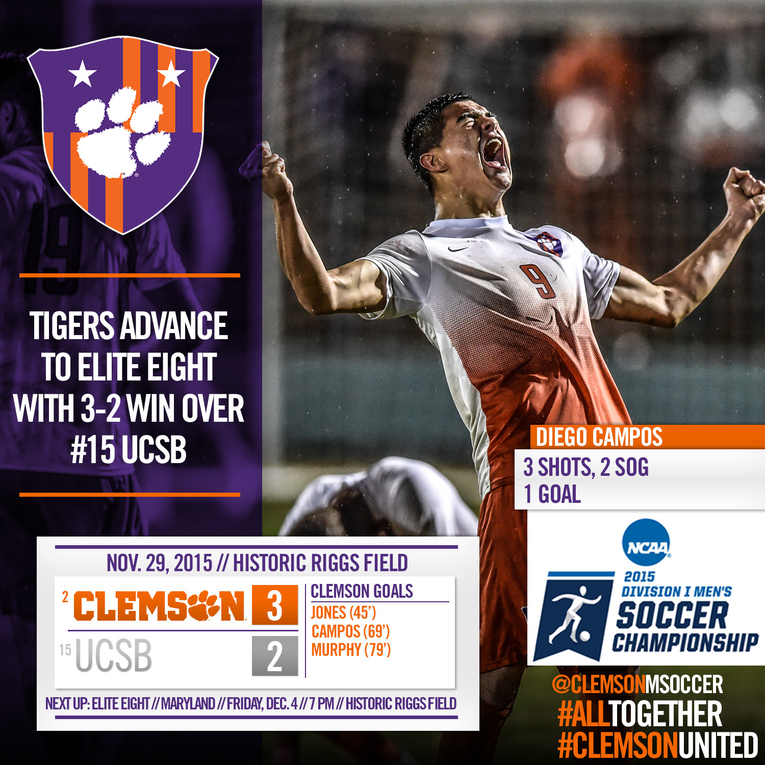 No. 2 Clemson Advances to NCAA Quarterfinals with 3-2 Victory over UCSB