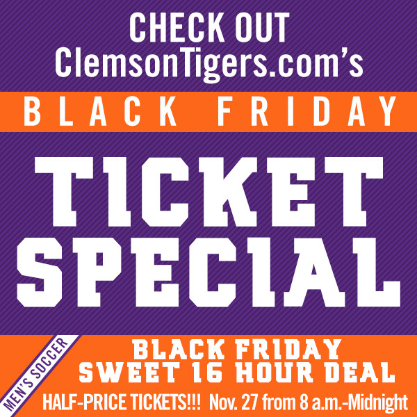 Clemson Announces Ticket Promotion for Sunday's NCAA Sweet 16 Match