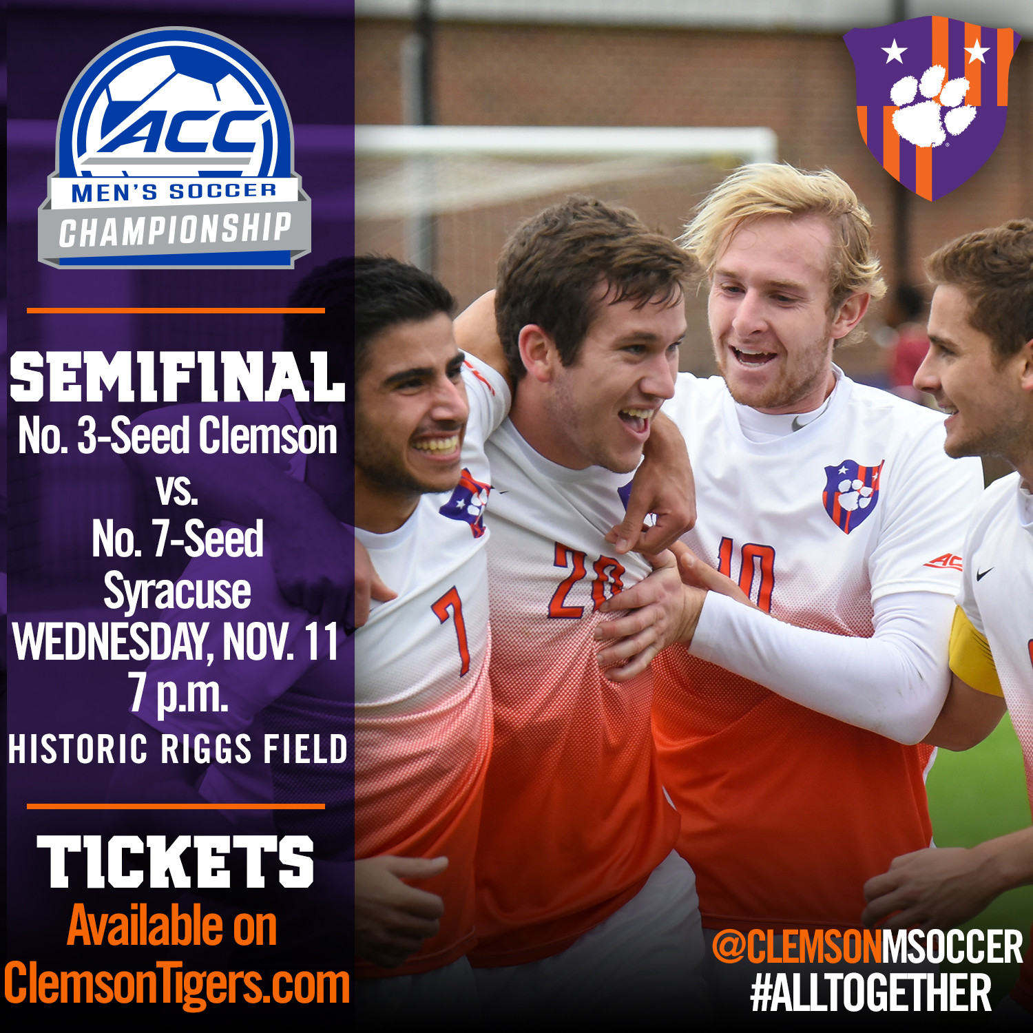 No. 2 Clemson Hosts ACC Semifinal vs. No. 13 Syracuse Wednesday