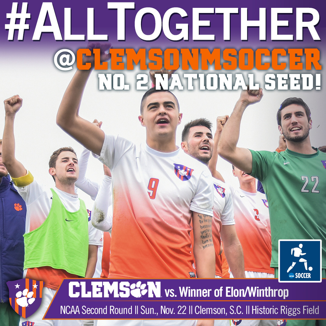 Clemson is No. 2 National Seed for NCAA Tournament, Hosts Second Round Match Sunday