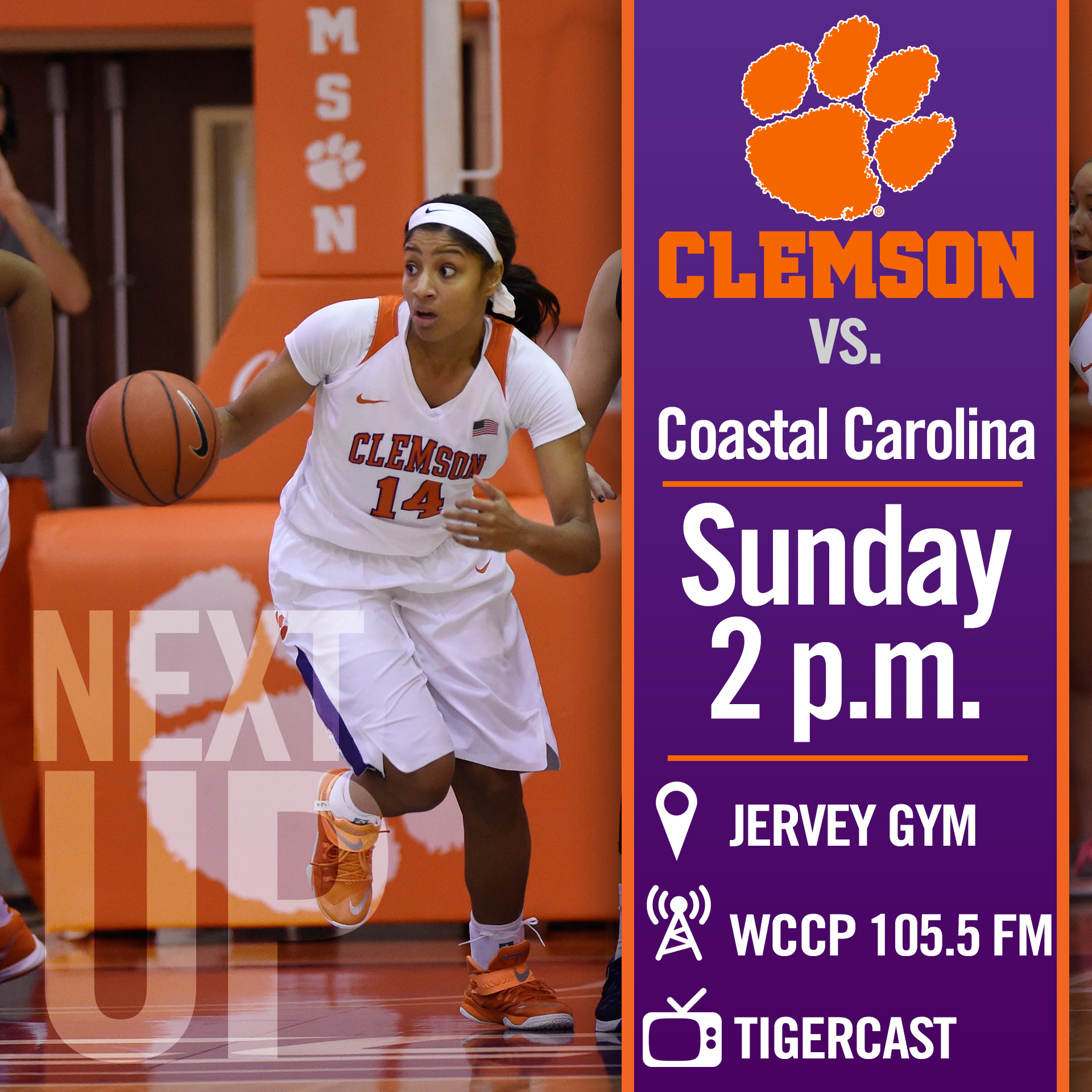 Tigers Host Coastal Carolina Sunday at 2 p.m. in Jervey Gym