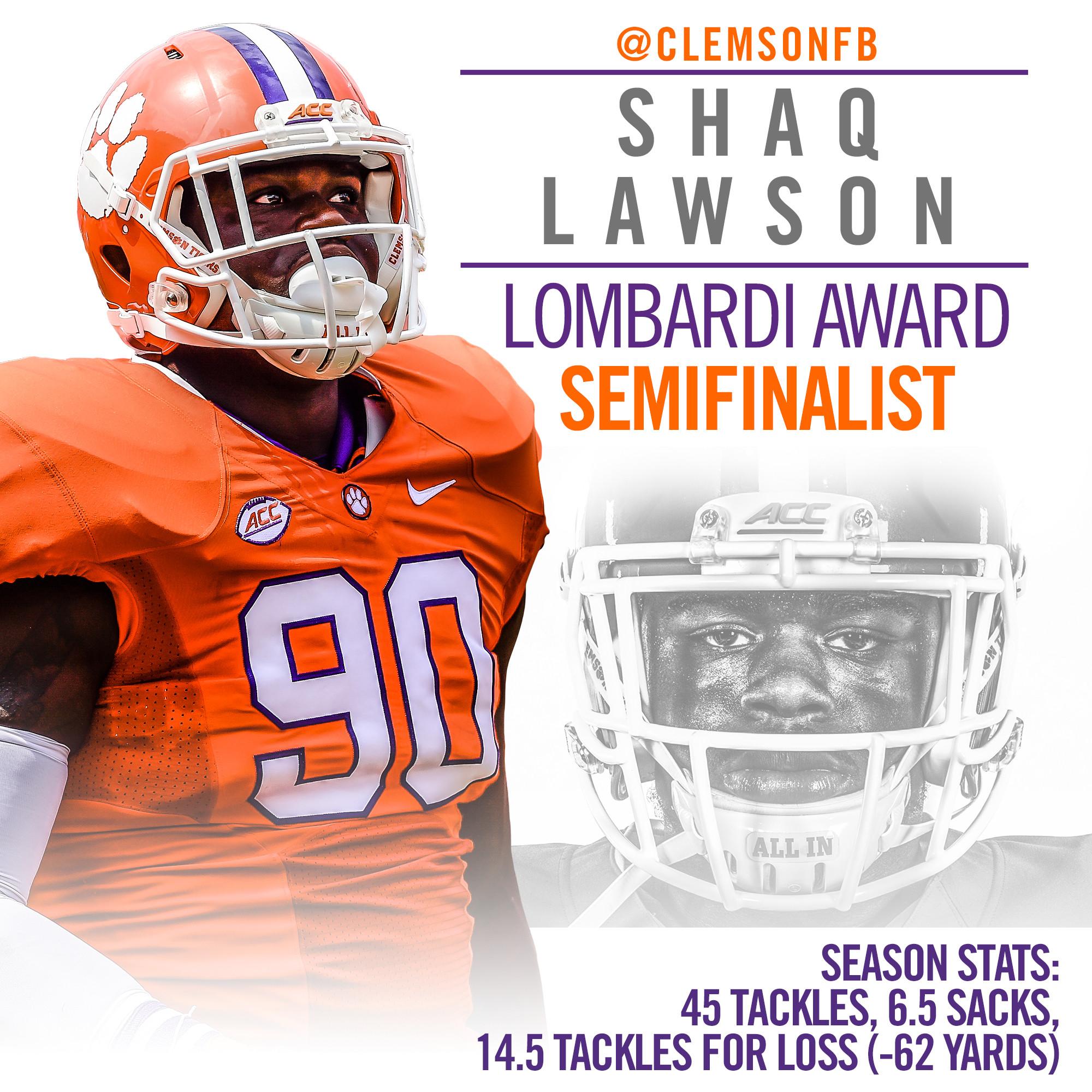 Lawson Named Semifinalist for Lombardi Award
