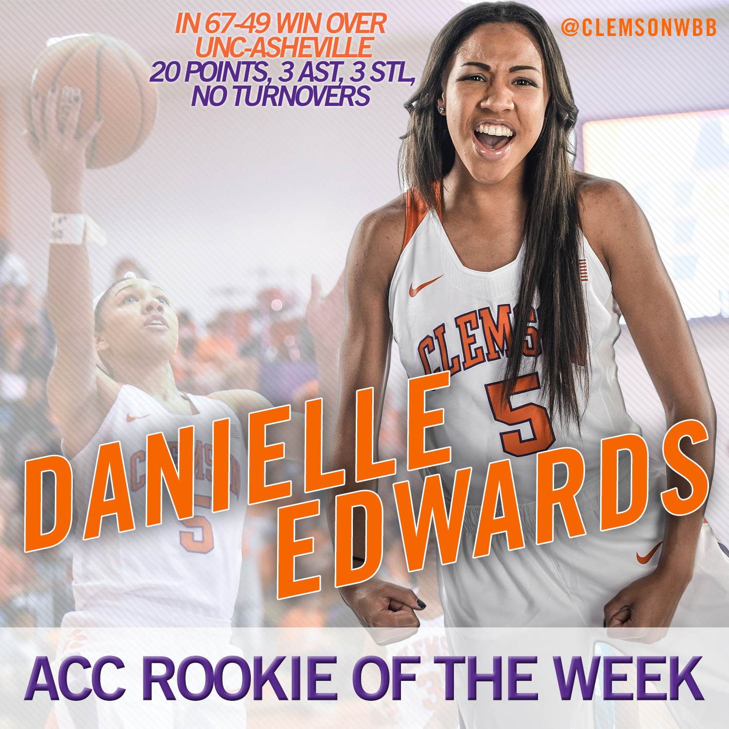 Danielle Edwards Named ACC Rookie of the Week