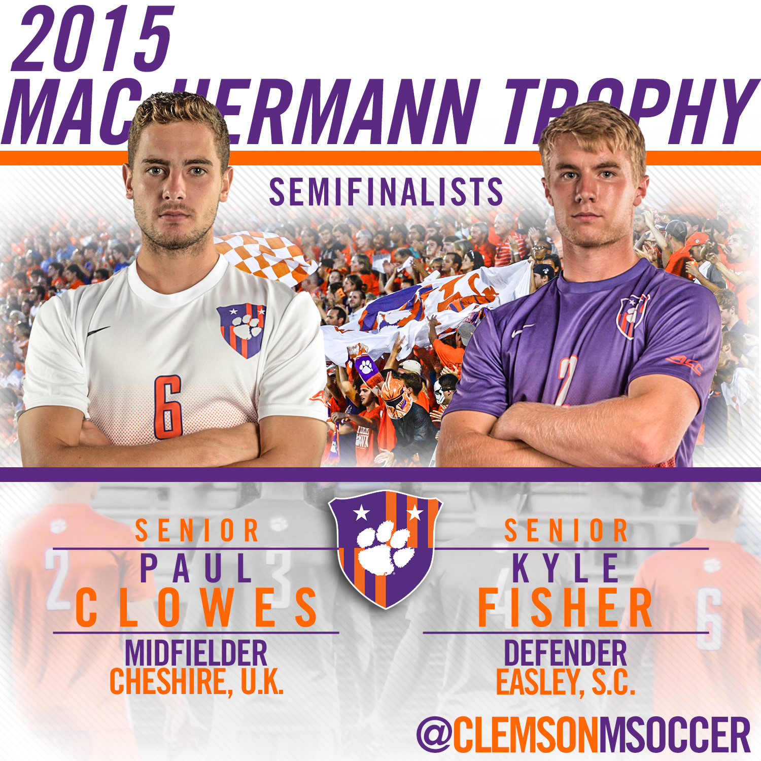 Clowes & Fisher Named Semifinalists for 2015 MAC Hermann Trophy
