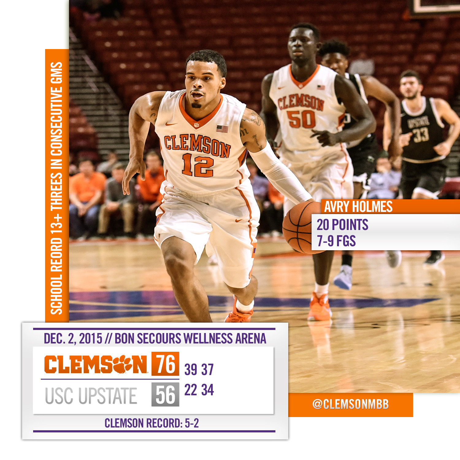 Tigers Shoot Way to 76-56 Win over Upstate