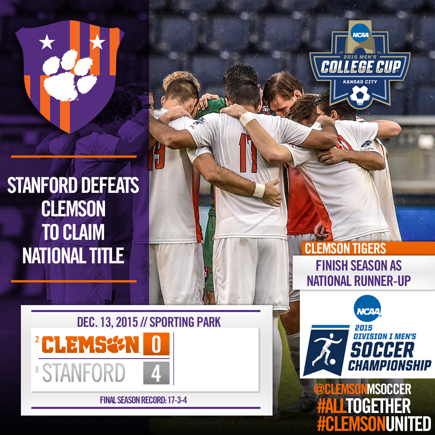 Clemson Falls to Stanford in National Championship Match Sunday