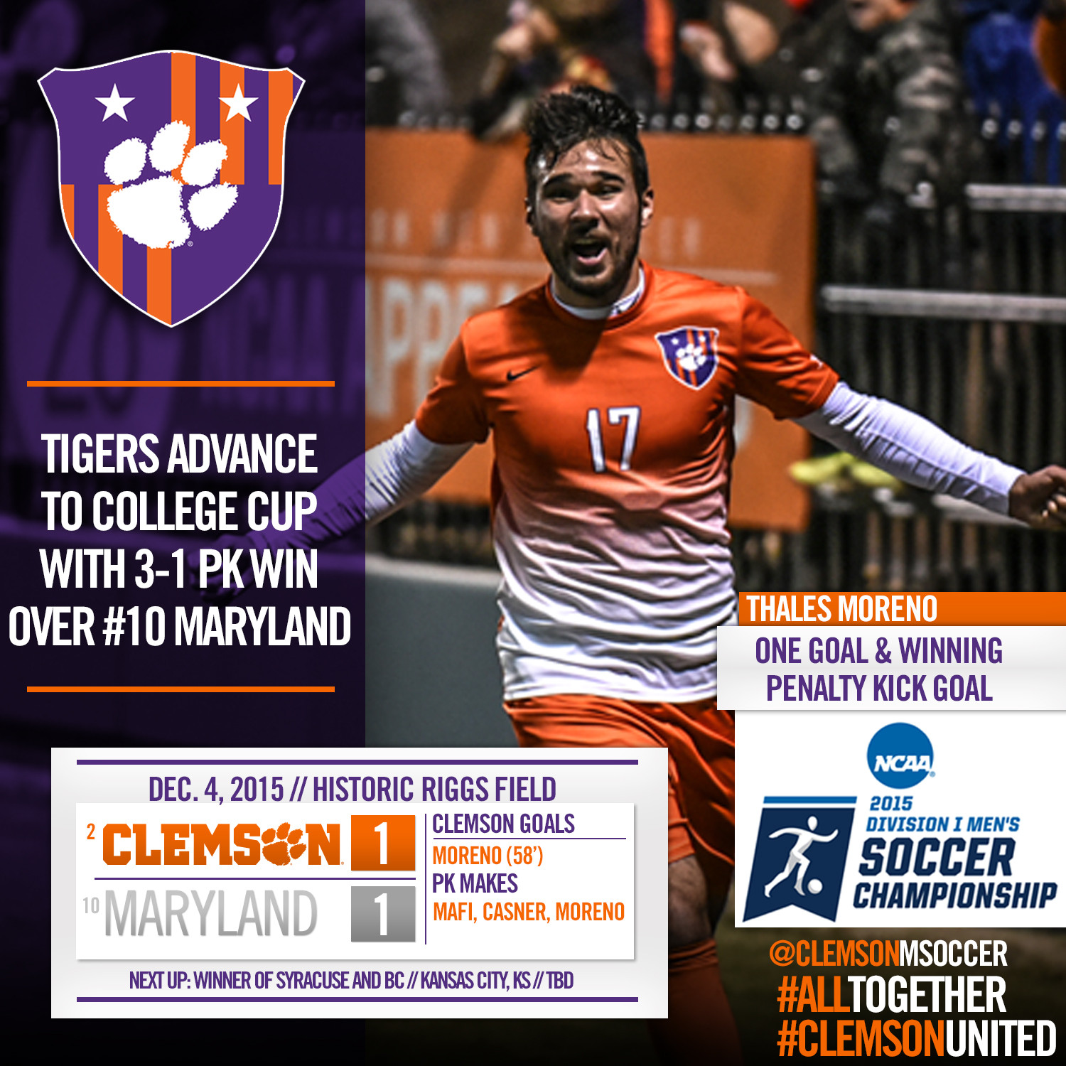 Clemson Advances to NCAA College Cup with PK Win Over Maryland Friday