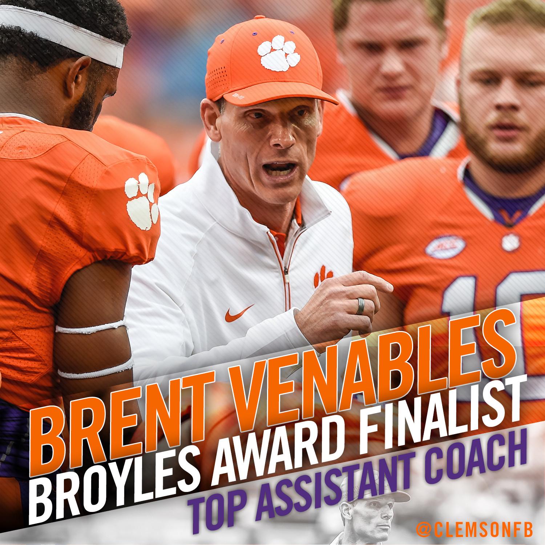 Venables Named Finalist for Broyles Award