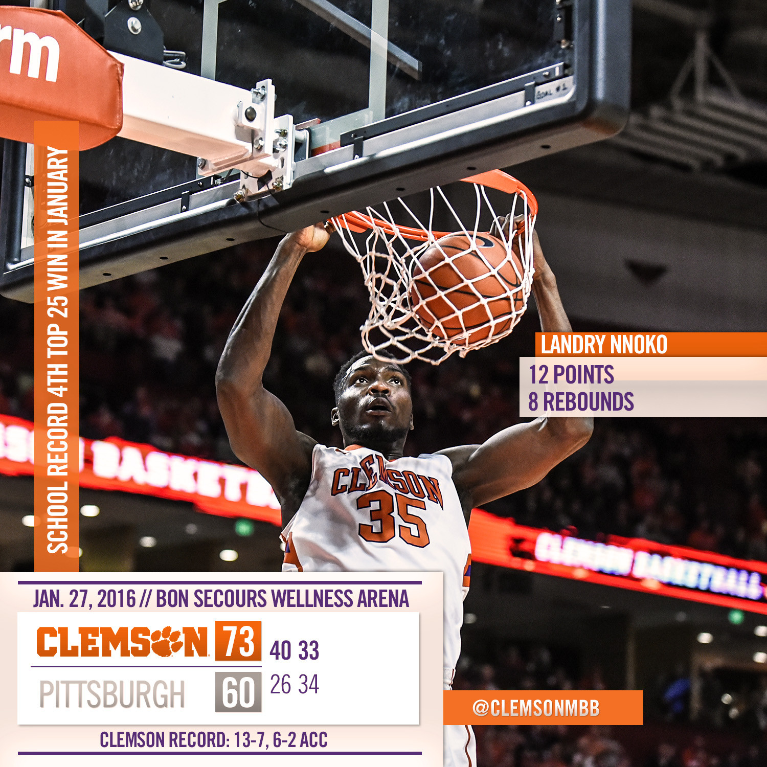Clemson Downs No. 23 Pittsburgh, 73-60