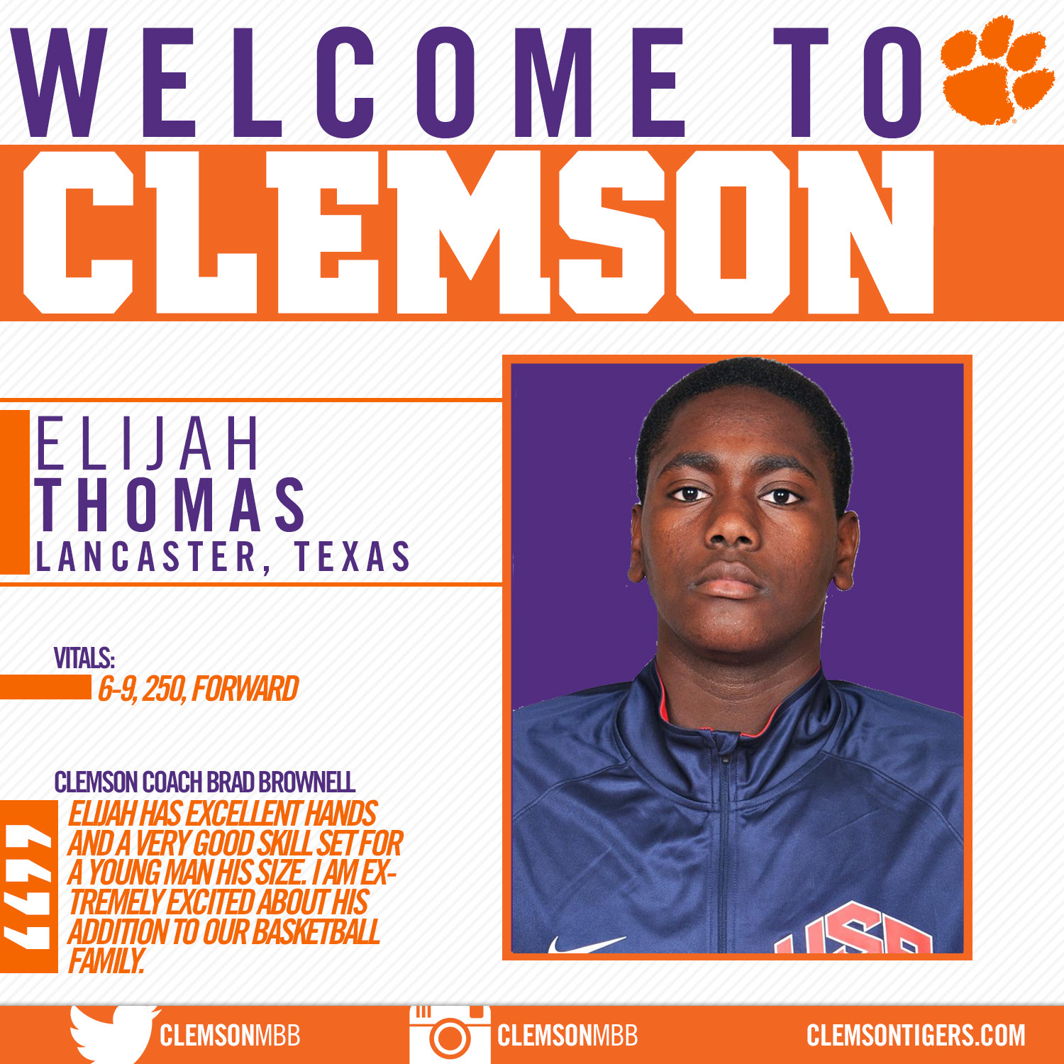 Tigers Add Elijah Thomas