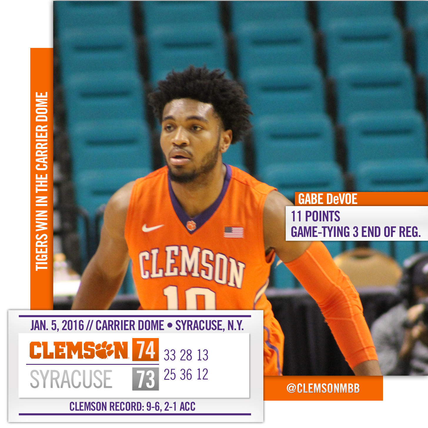 Tigers Win Thriller at Syracuse, 74-73