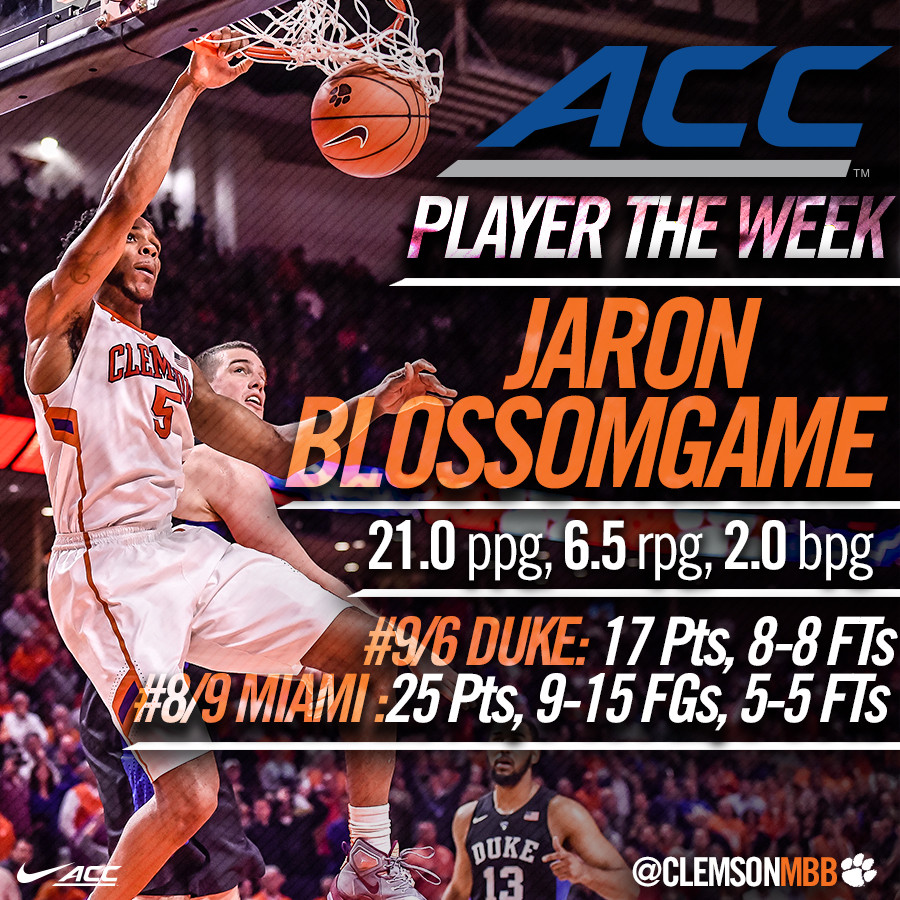 Blossomgame Named ACC Player of the Week