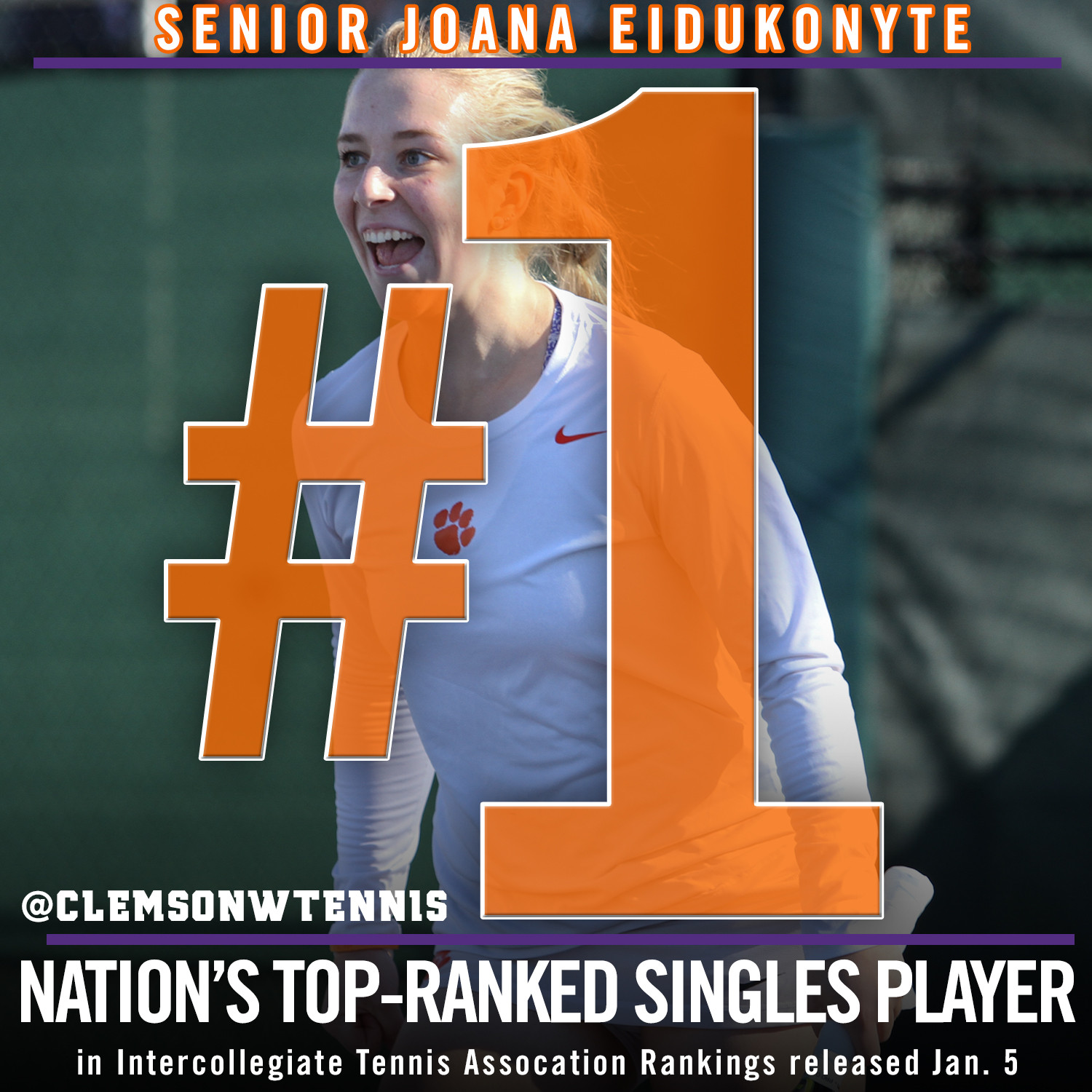 Eidukonyte Ranked No. 1 Nationally in Singles, Tigers Ranked 20th as a Team
