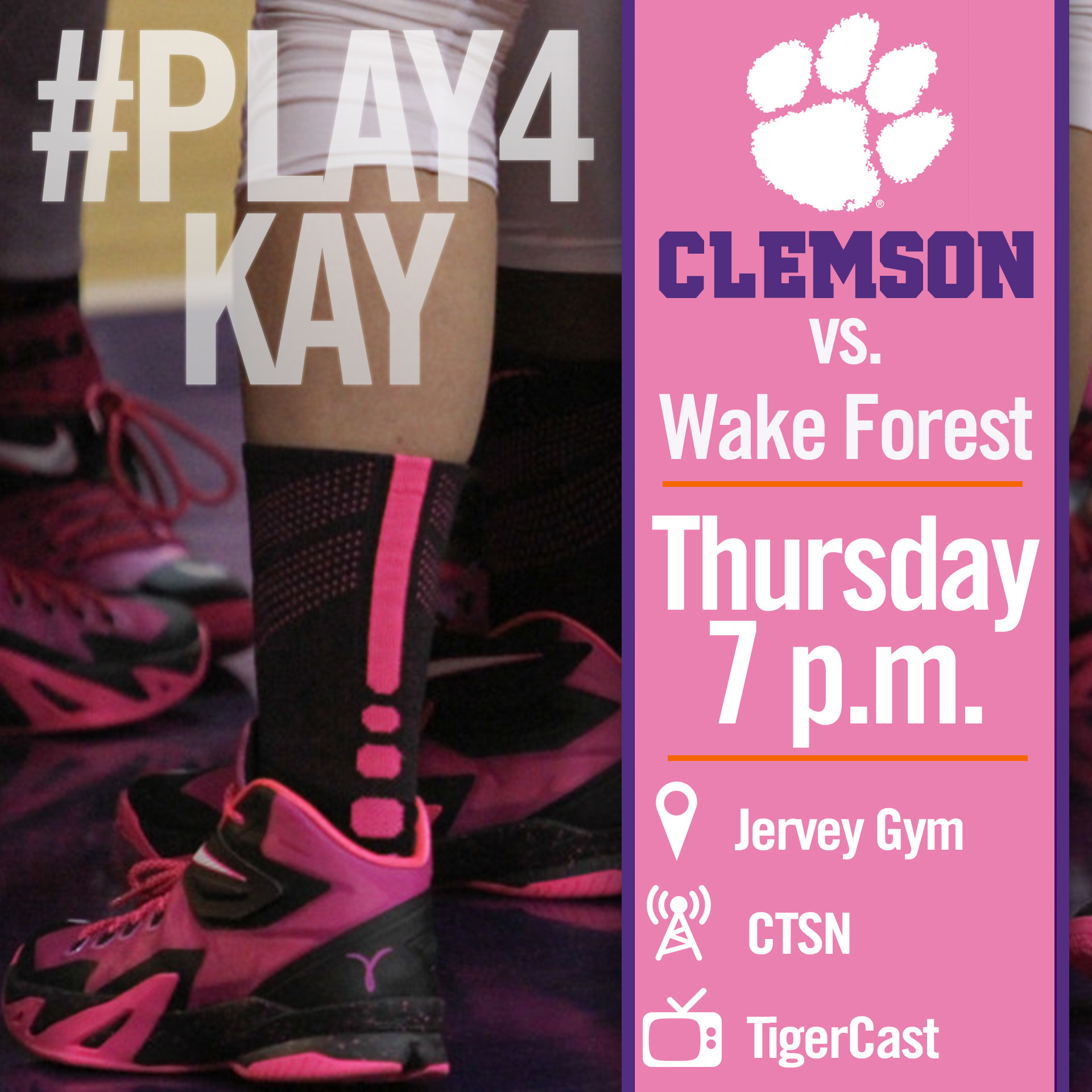 Clemson Hosts Wake Forest in #Play4Kay Game