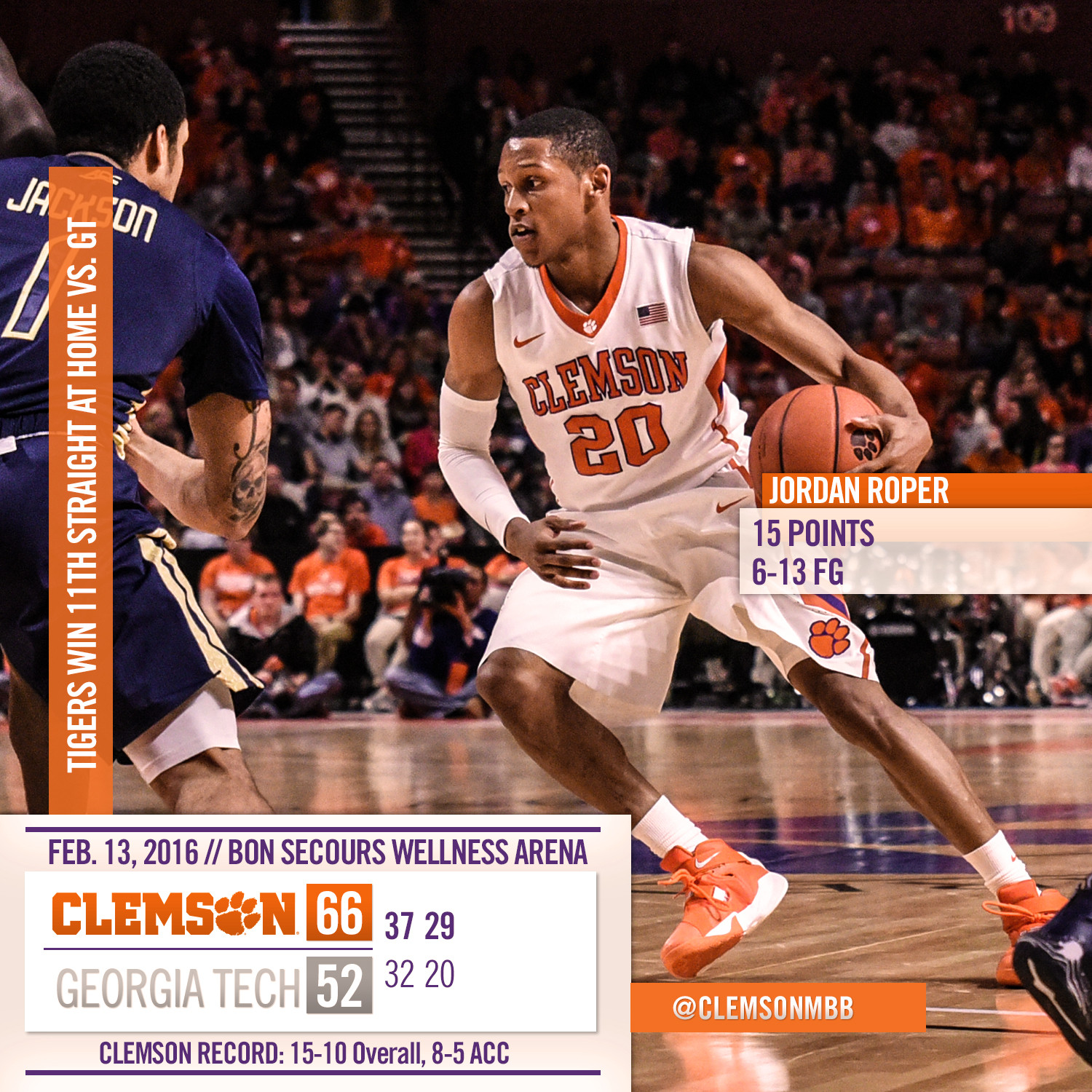 Tigers Grind Past Yellow Jackets, 66-52