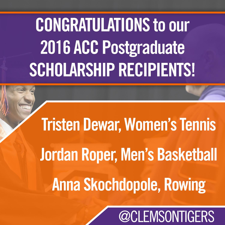 Three Clemson Student-Athletes Earn ACC Postgraduate Scholarship Awards