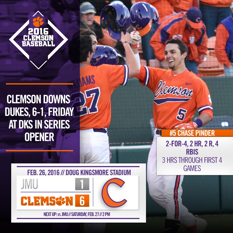 Clemson Downs Dukes 6-1