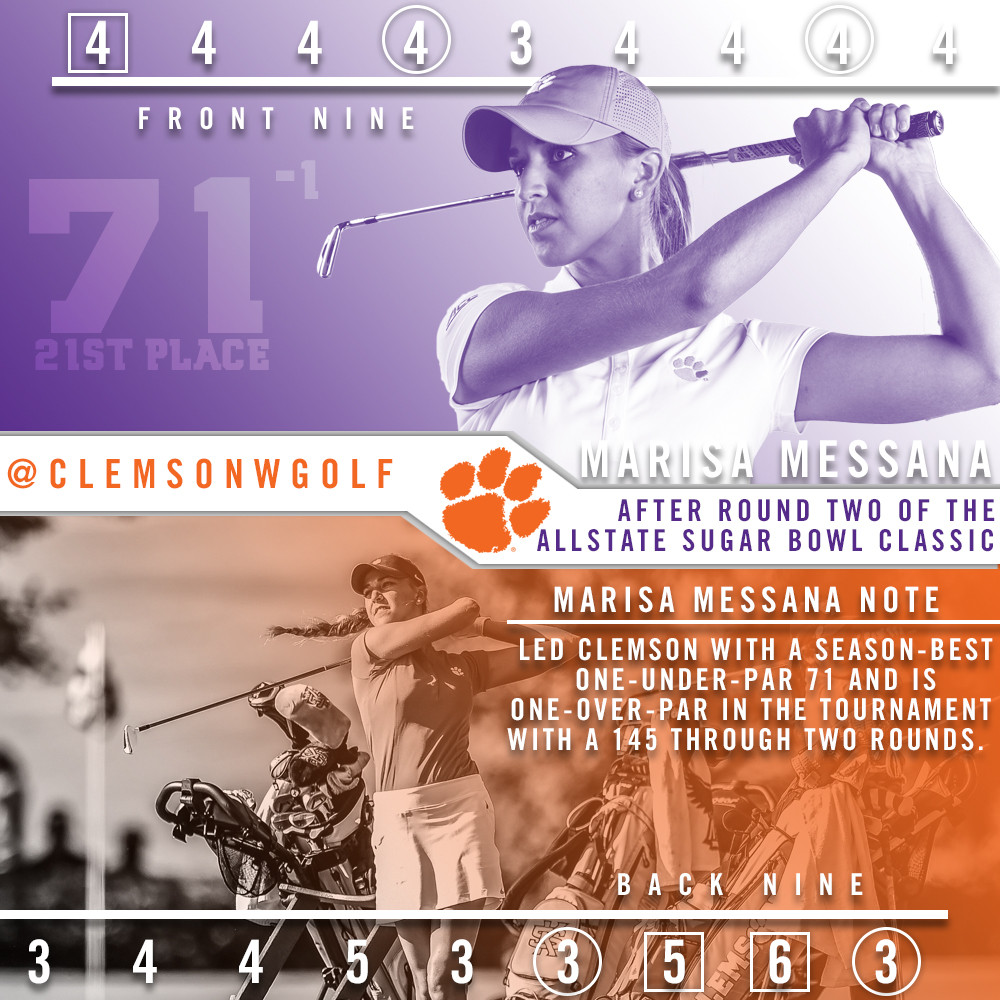 Clemson Tied for Seventh Entering Final Round of Allstate Sugar Bowl